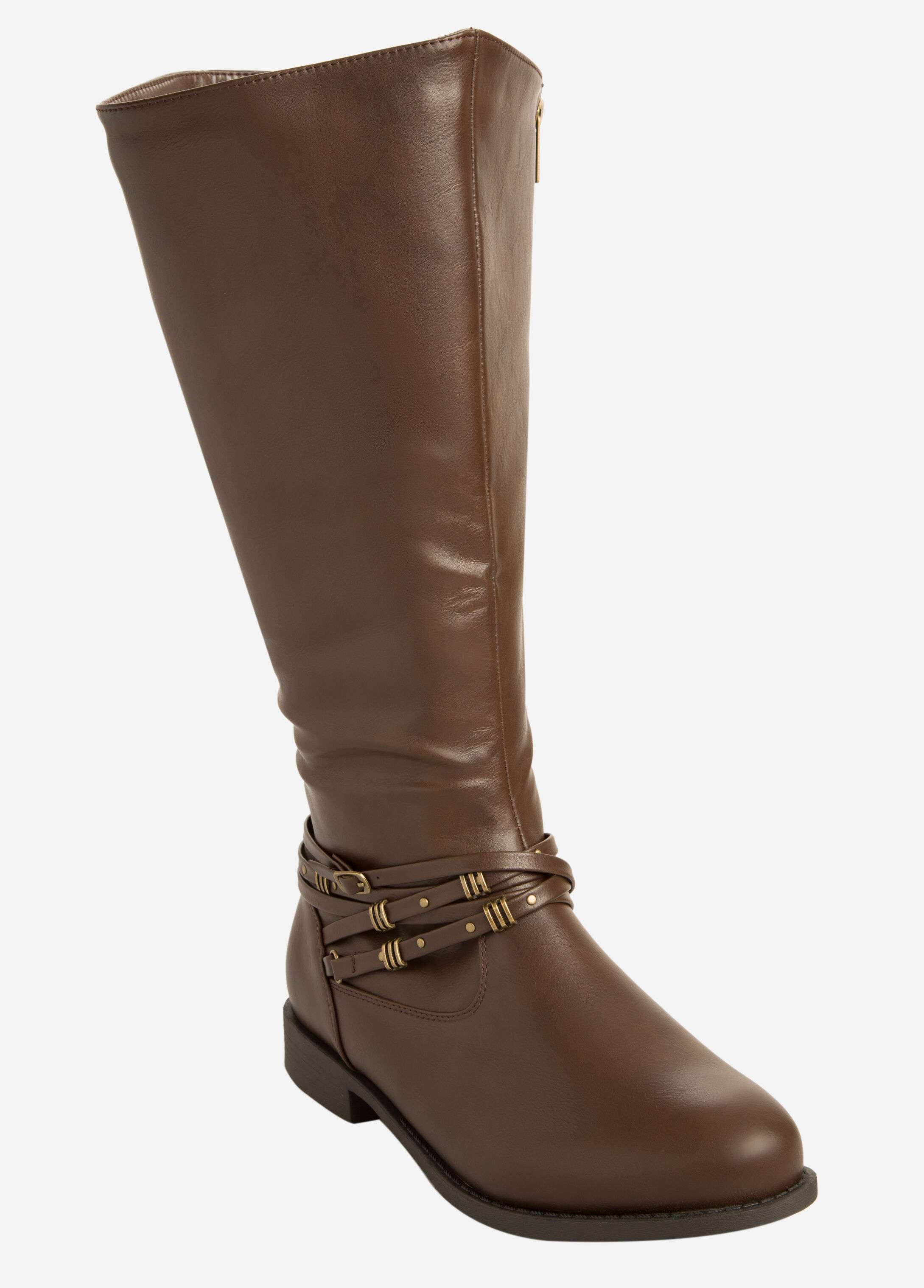 Studded Buckle Front Flat Boot - Extra Wide Width - Wide Calf