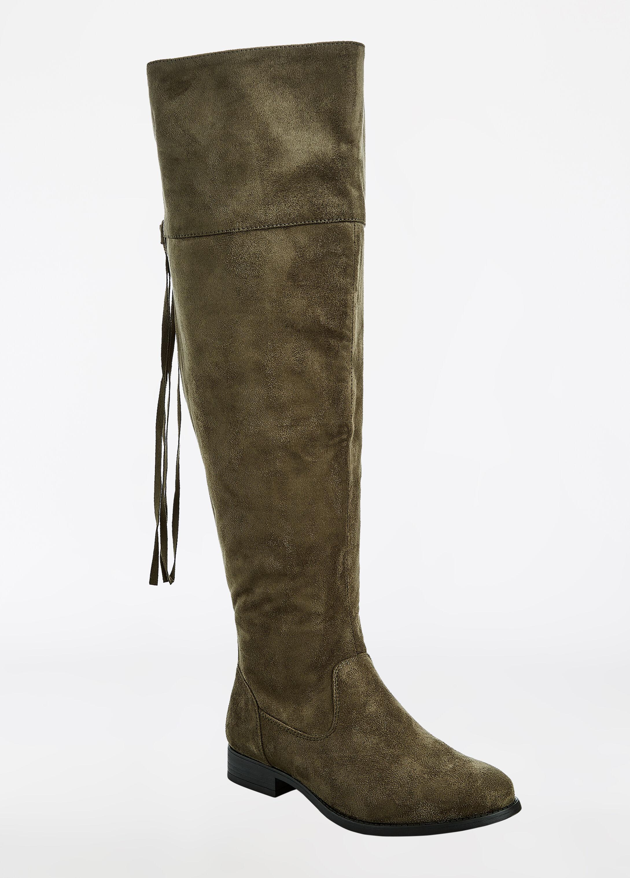 Faux Suede Boot - Wide Width - Wide Calf