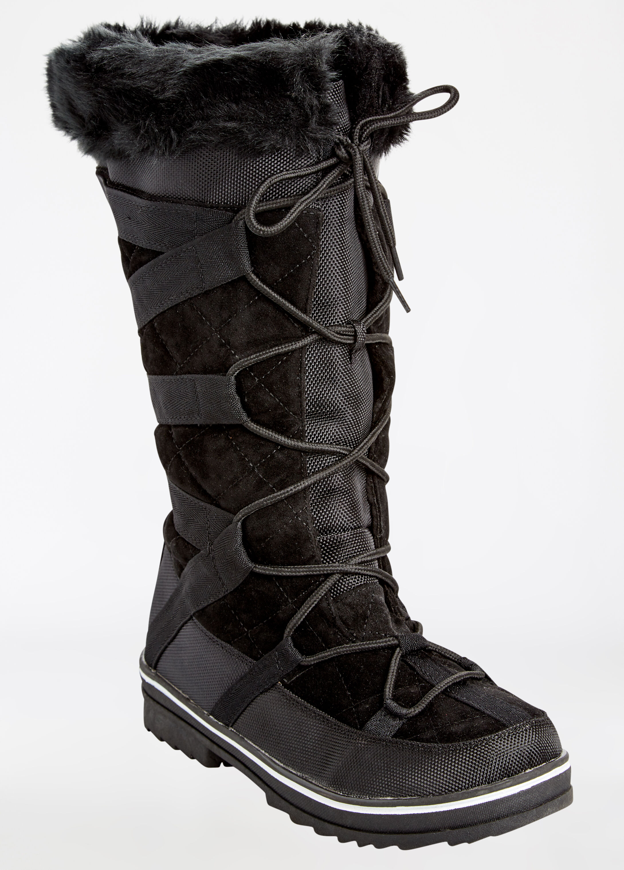 Lace Up Quilted Fur-Lined Boot - Wide Width - Wide Calf
