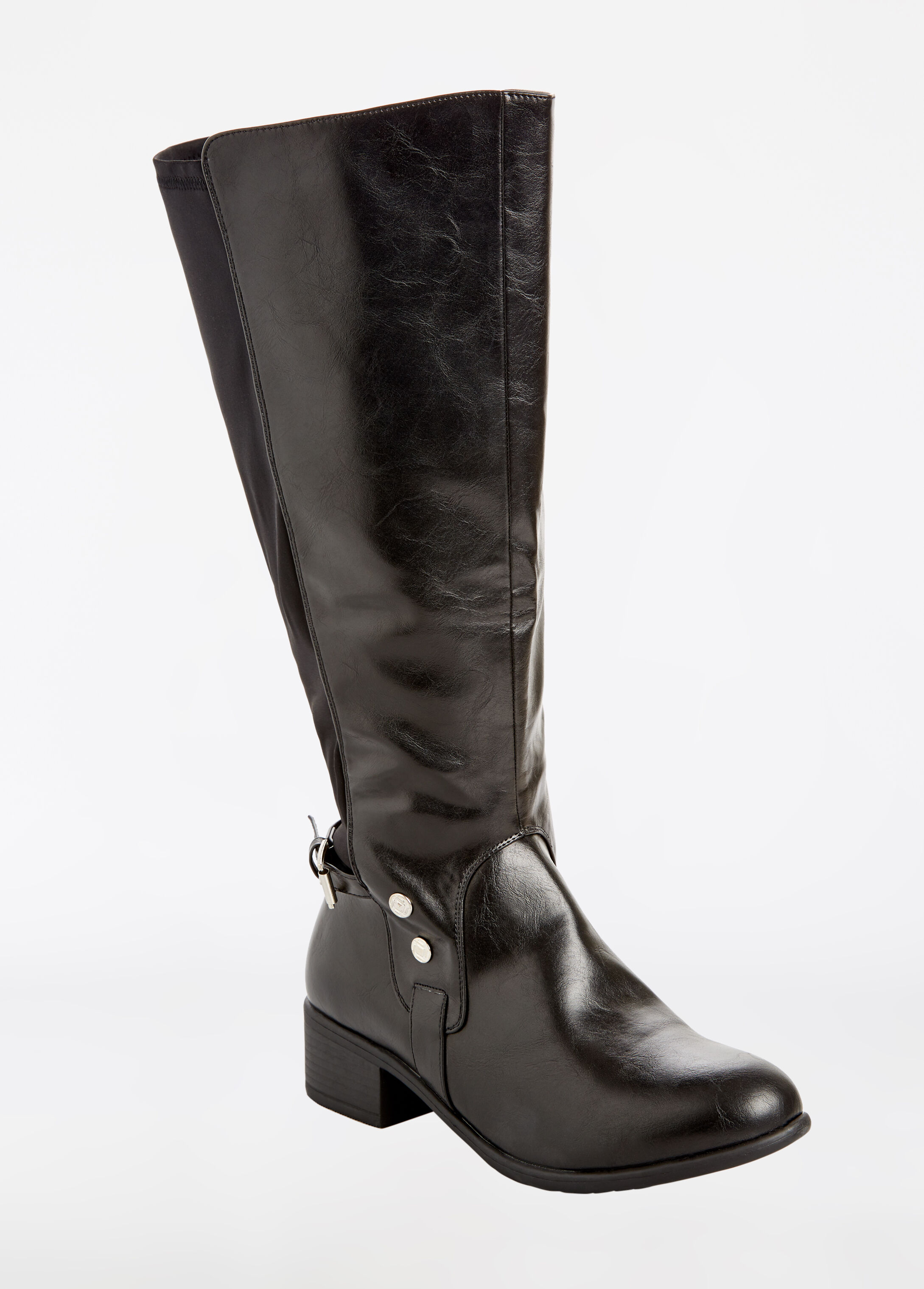 Mix Media Faux Leather Boot - Extra Wide Width - Wide CalfWide Width - Wide Calf
