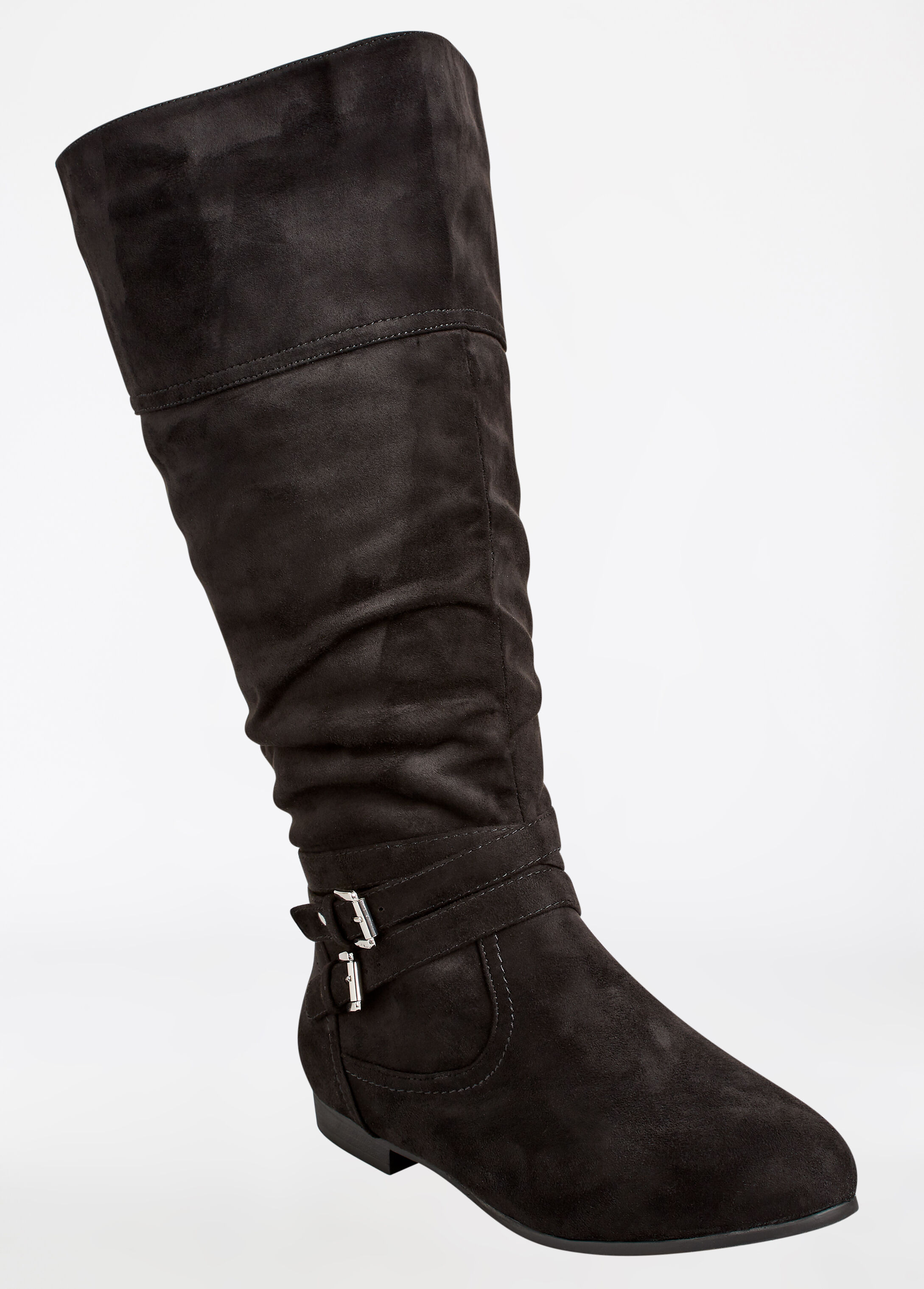Faux Suede Buckle Side Boot - Extra Wide Width - Wide Calf