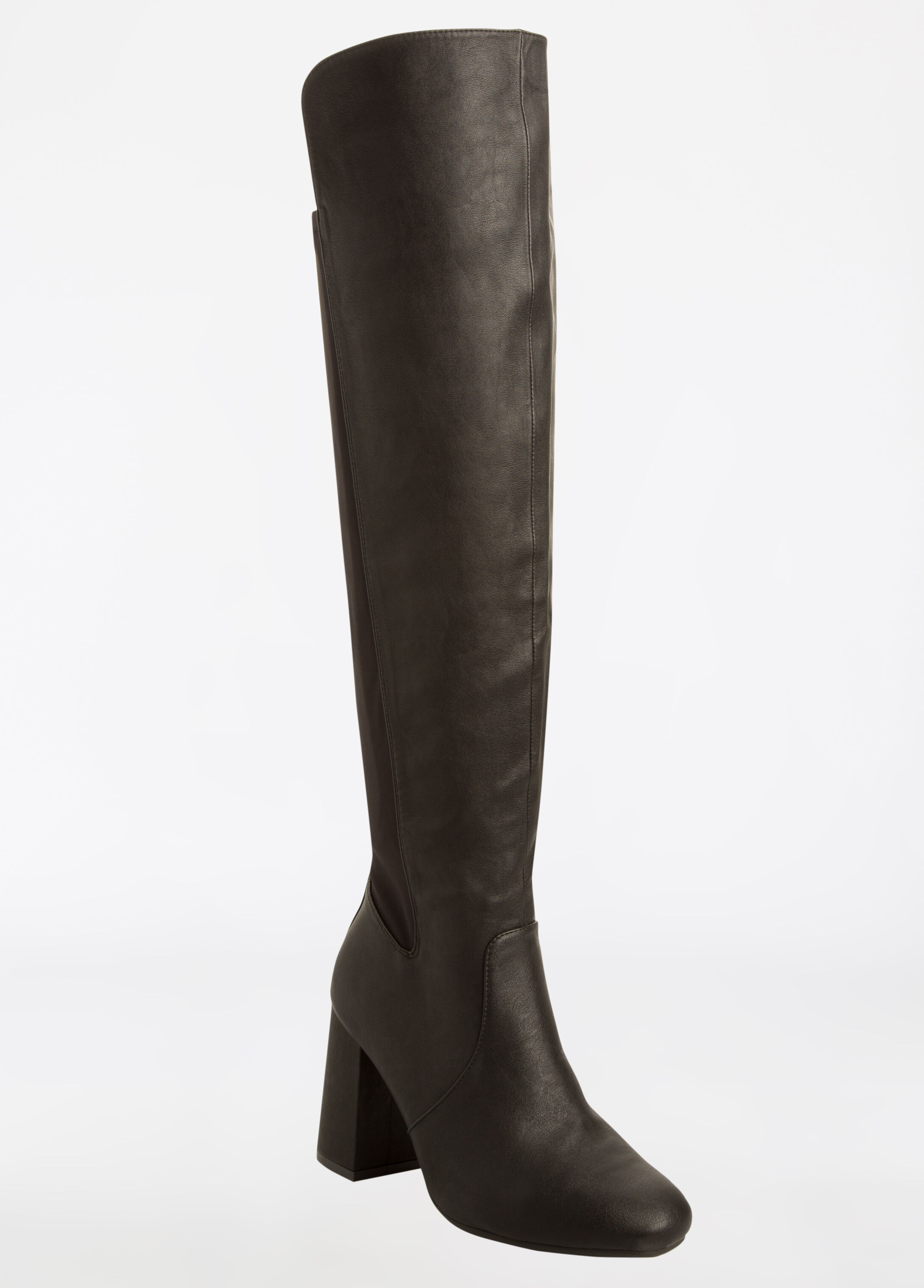 Chunky Heel Over The Knee Boot - Wide Width