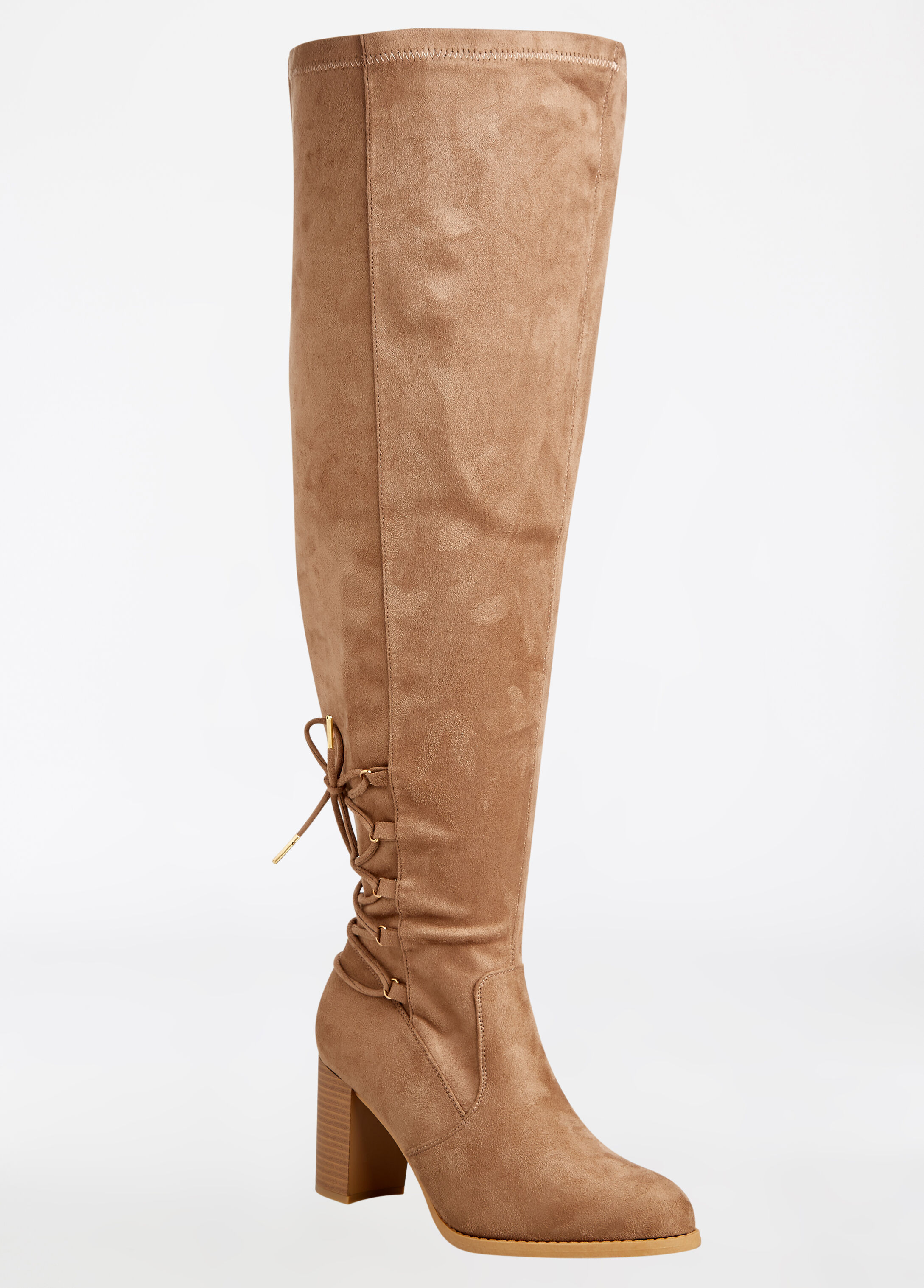 Over the Knee Faux Suede Lace-Up Back Boot - Wide Width Camel Taupe - Clearance