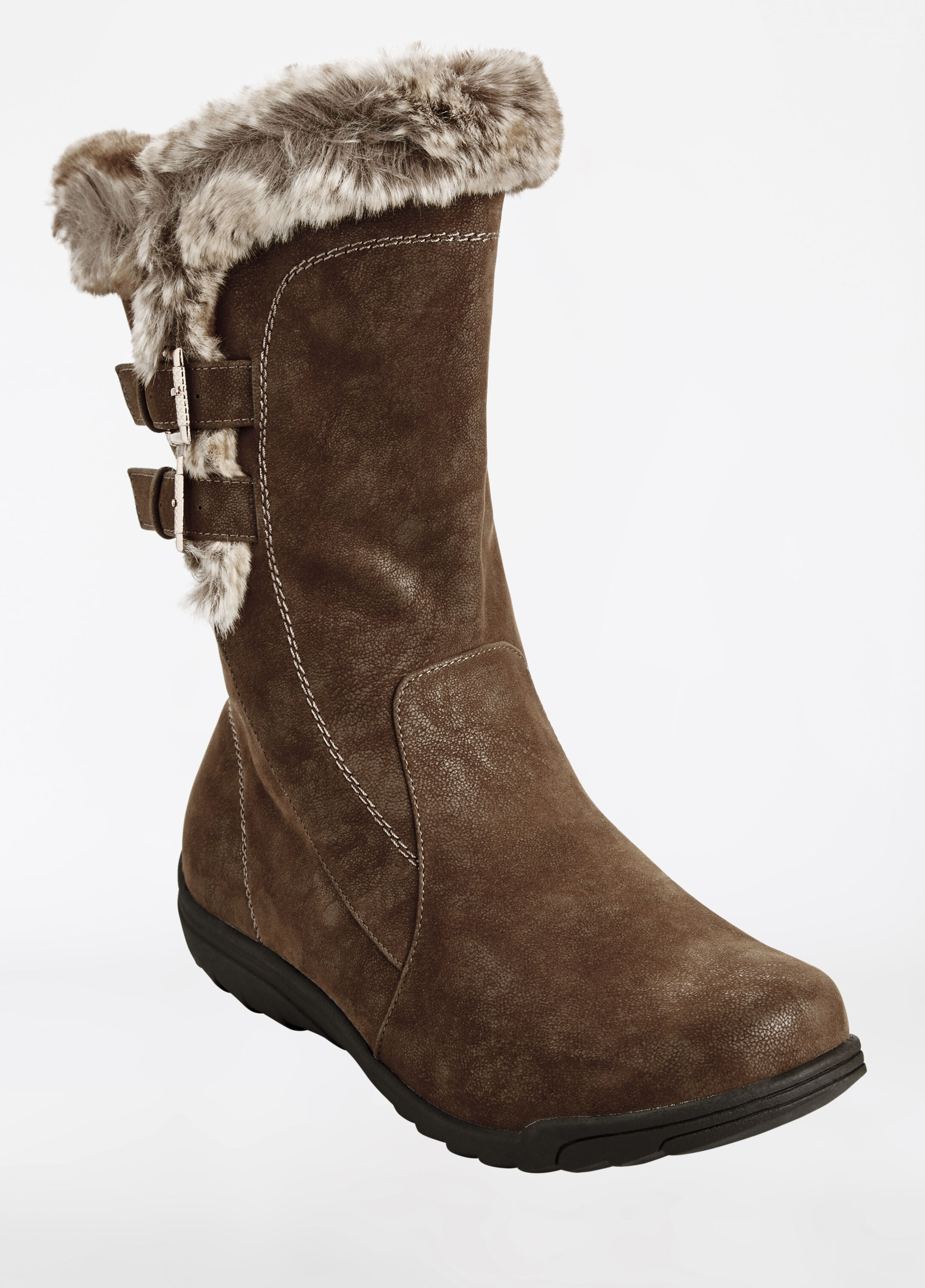 Faux Fur Lined Short Boot - Wide Width
