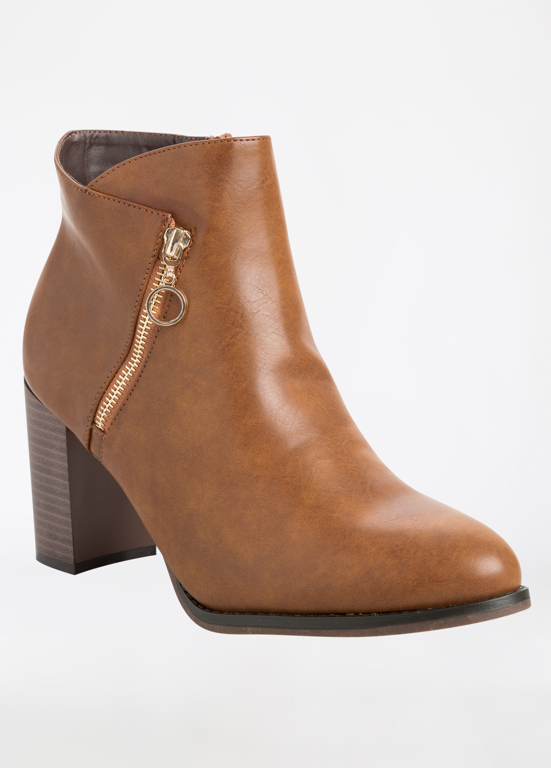 Faux Leather Side Zip Chunky Heel Boot Wide Width