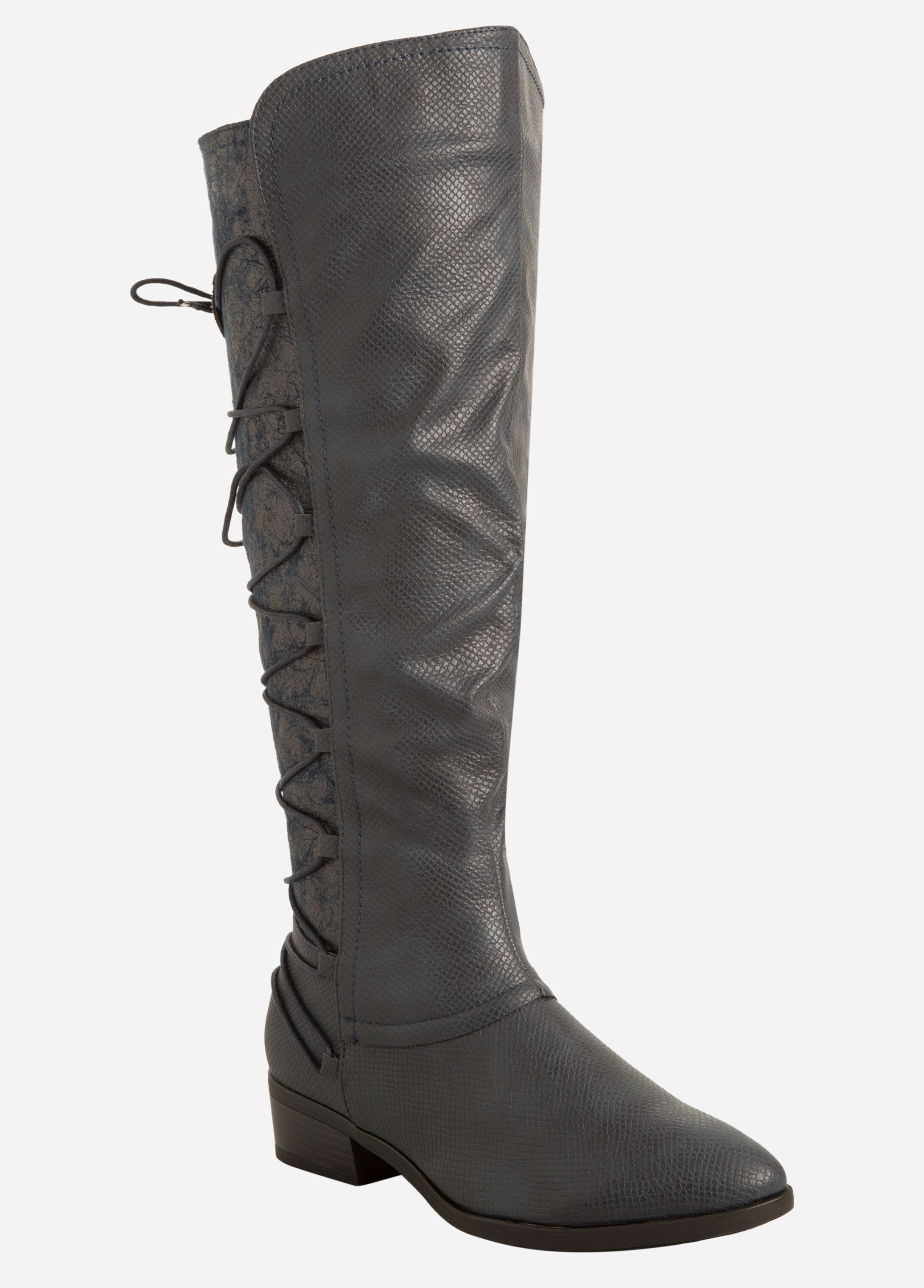 Lace-Up Back Snake Print Tall Boot - Wide Width