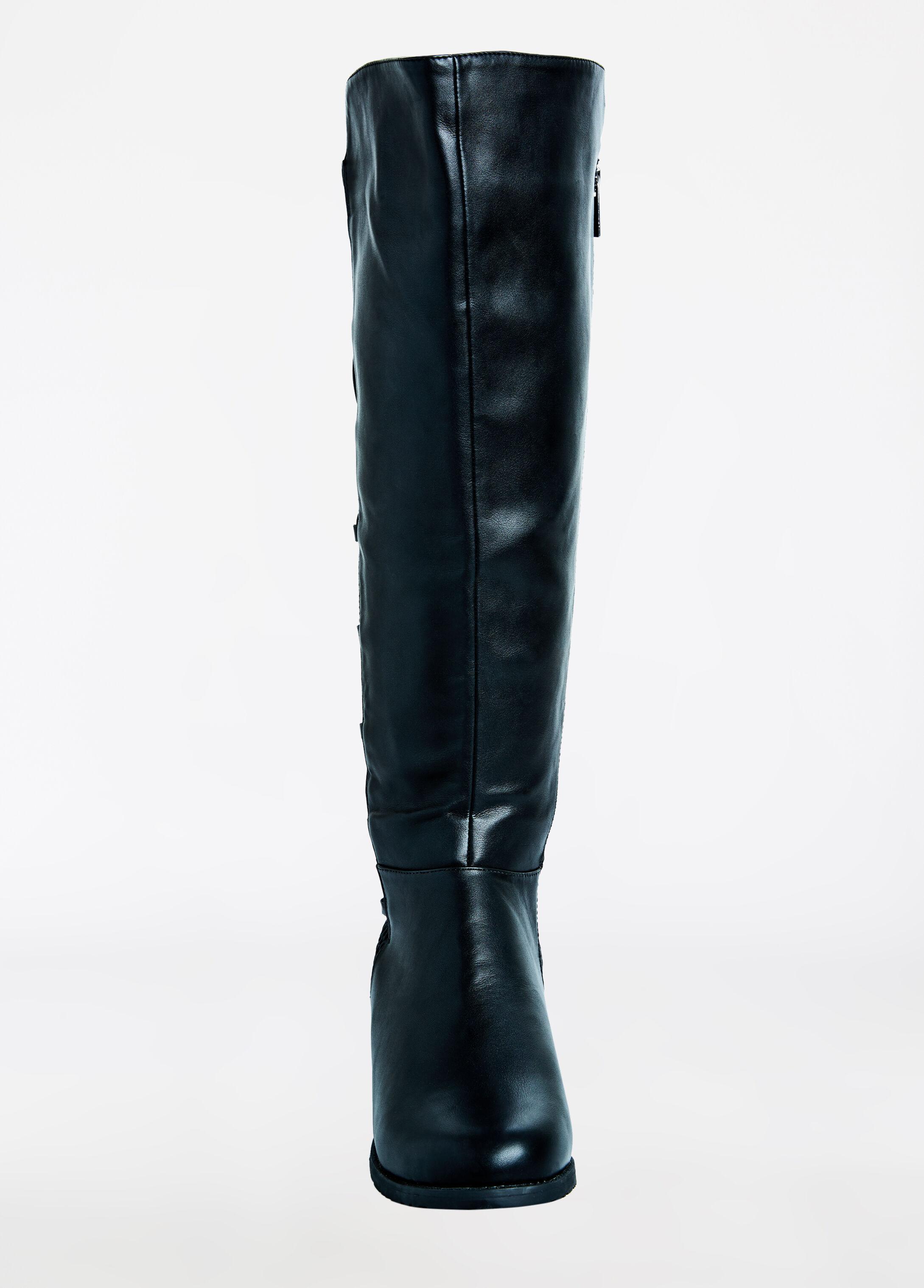 Lace Up Stretch Flat Calf Boot - Wide Width
