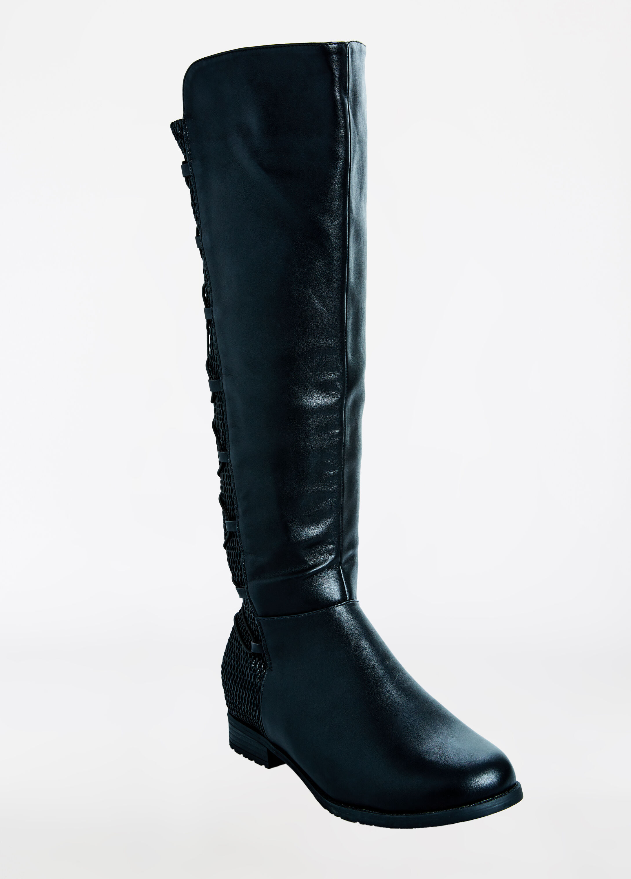 Lace Up Stretch Flat Calf Boot - Wide Width Black - Clearance
