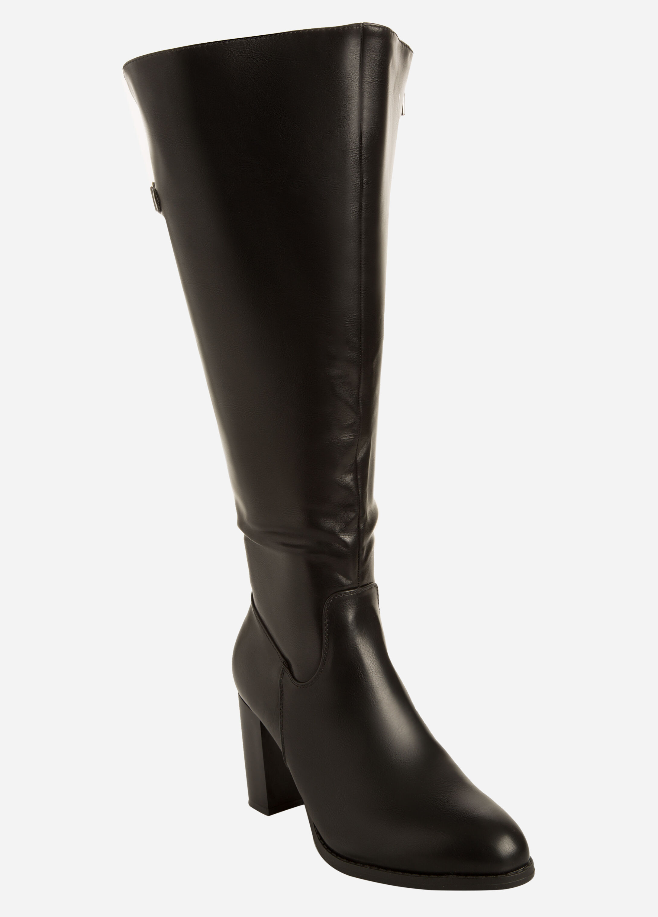 Faux Leather Stretch Back Heeled Boot - Wide Width