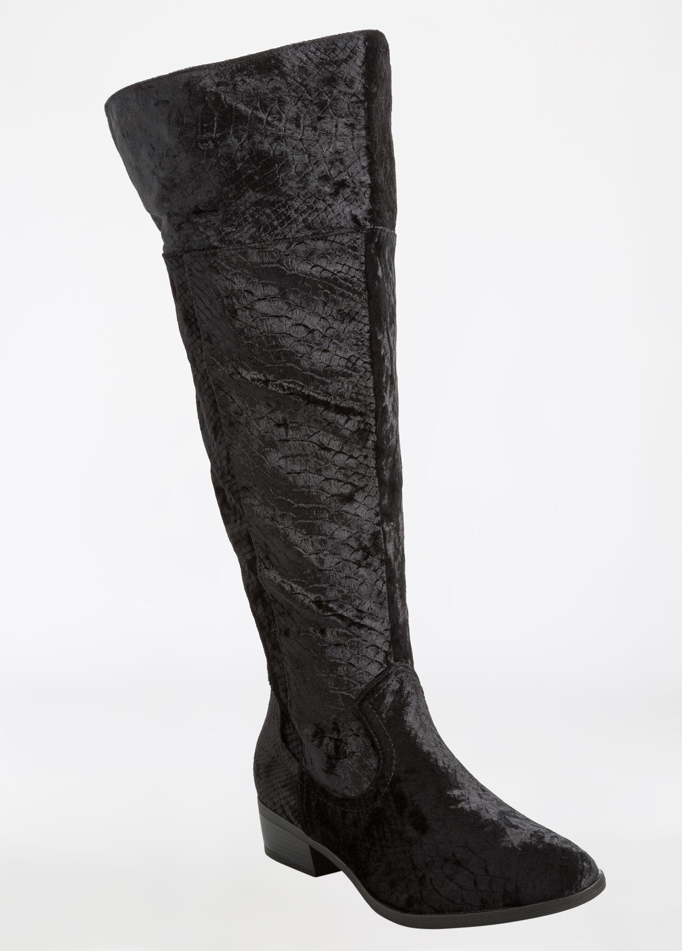 Over The Knee Crocodile Print Velvet Flat Boot - Wide Width