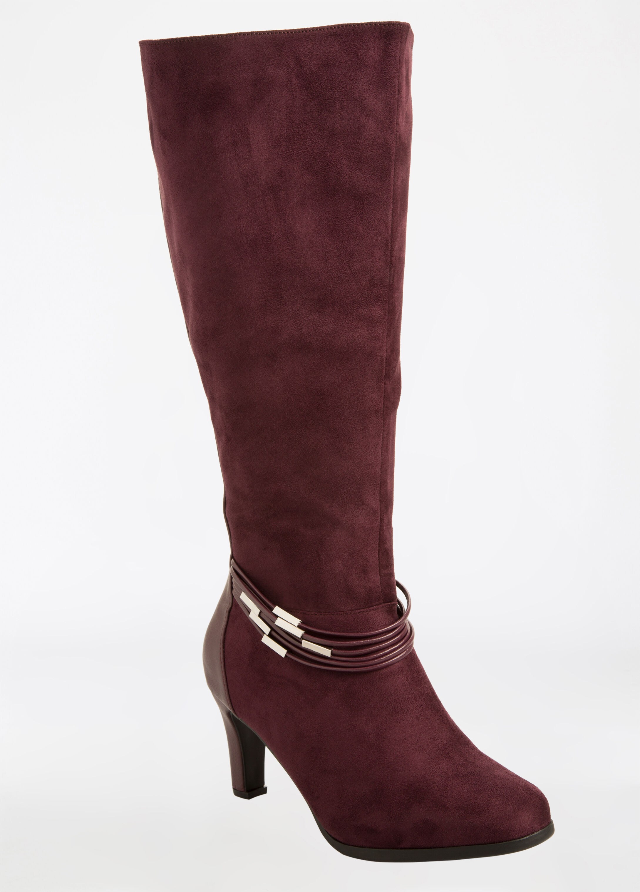 Faux Suede Mix Media Tall Boot - Wide Width
