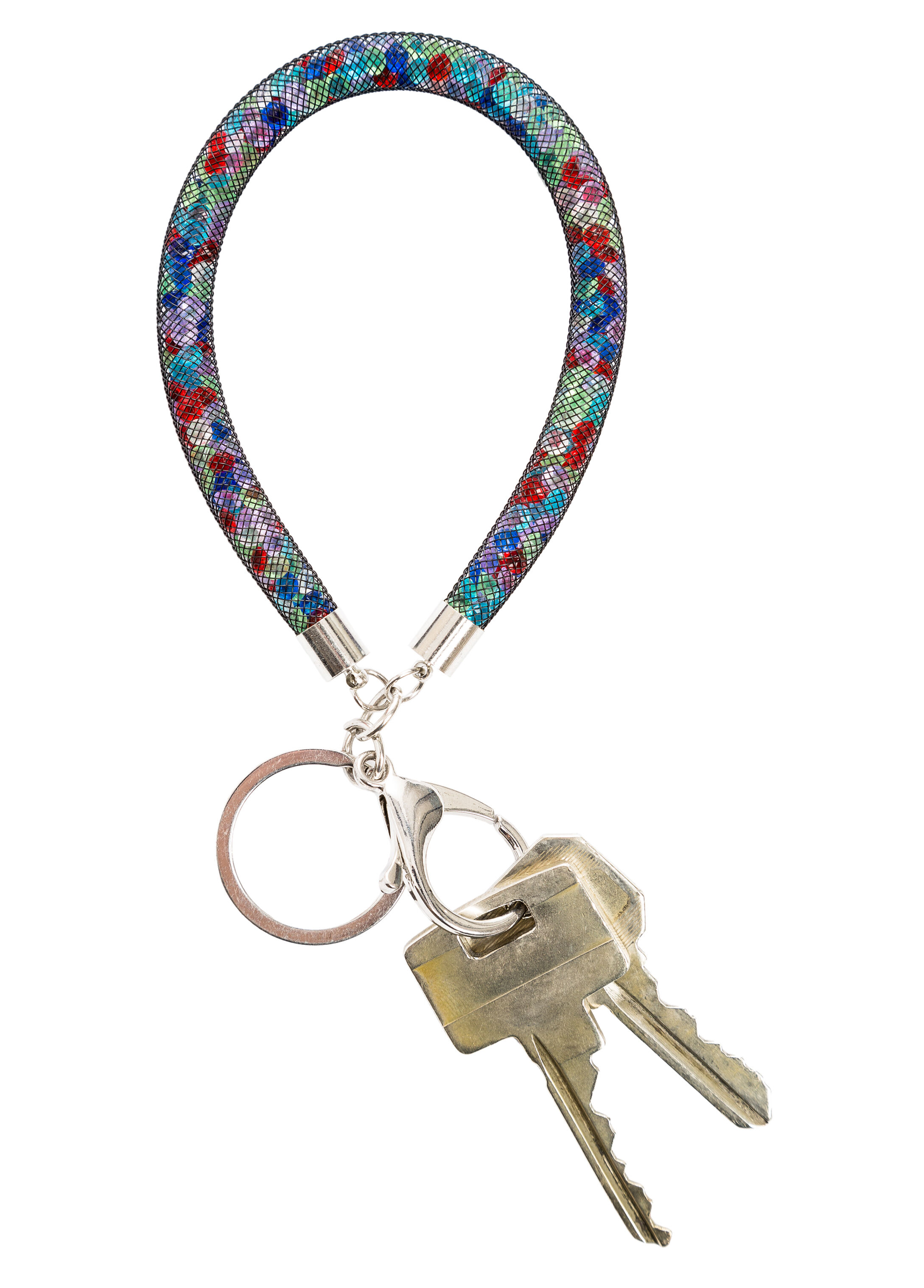 Stone-Filled Mesh Keychain