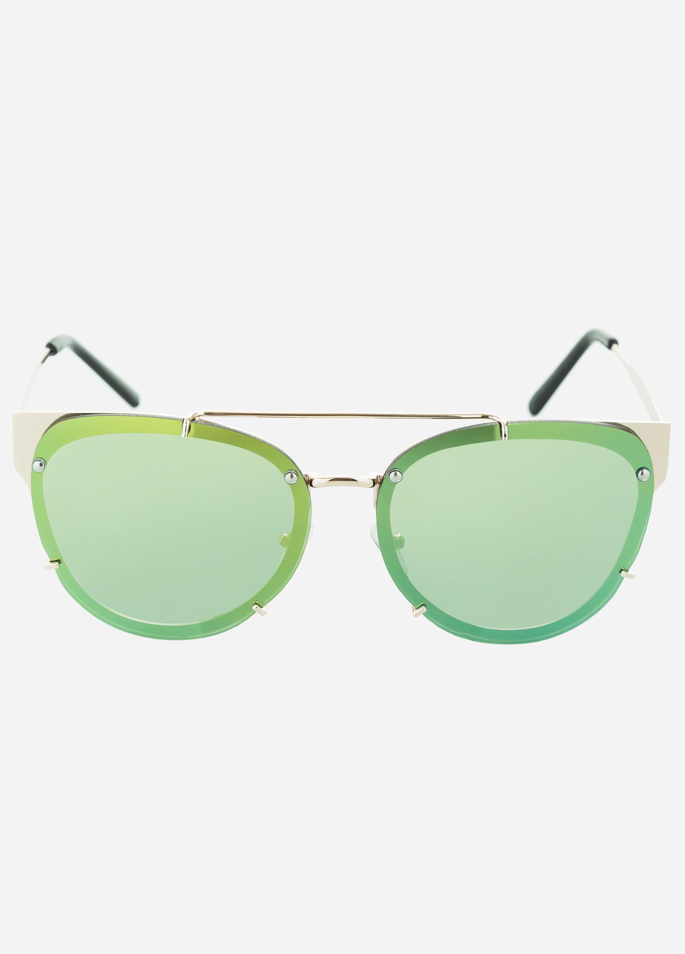 Yellow Mirrored Lens Cat Eye Sunglasses