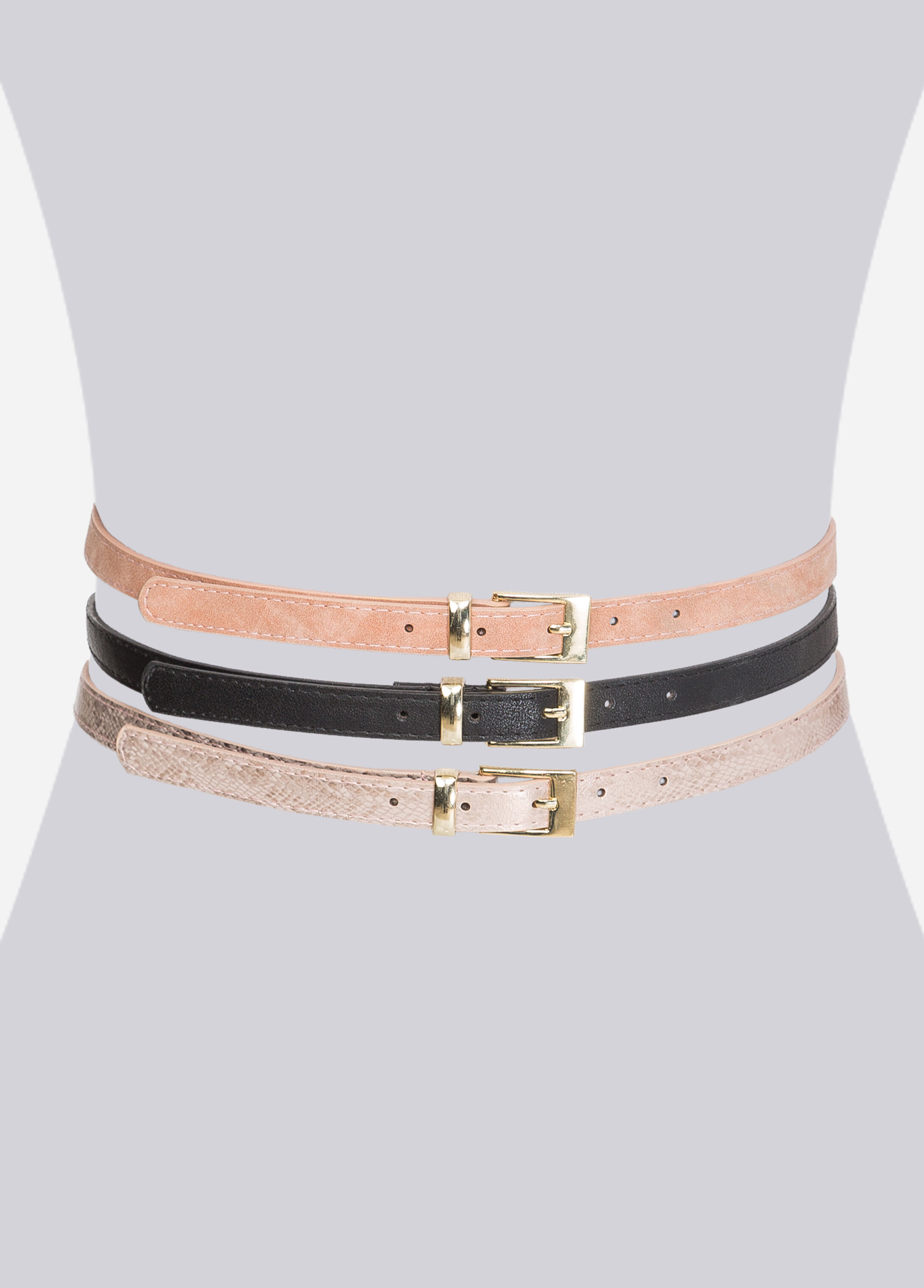 Metallic Snake Belt Trio