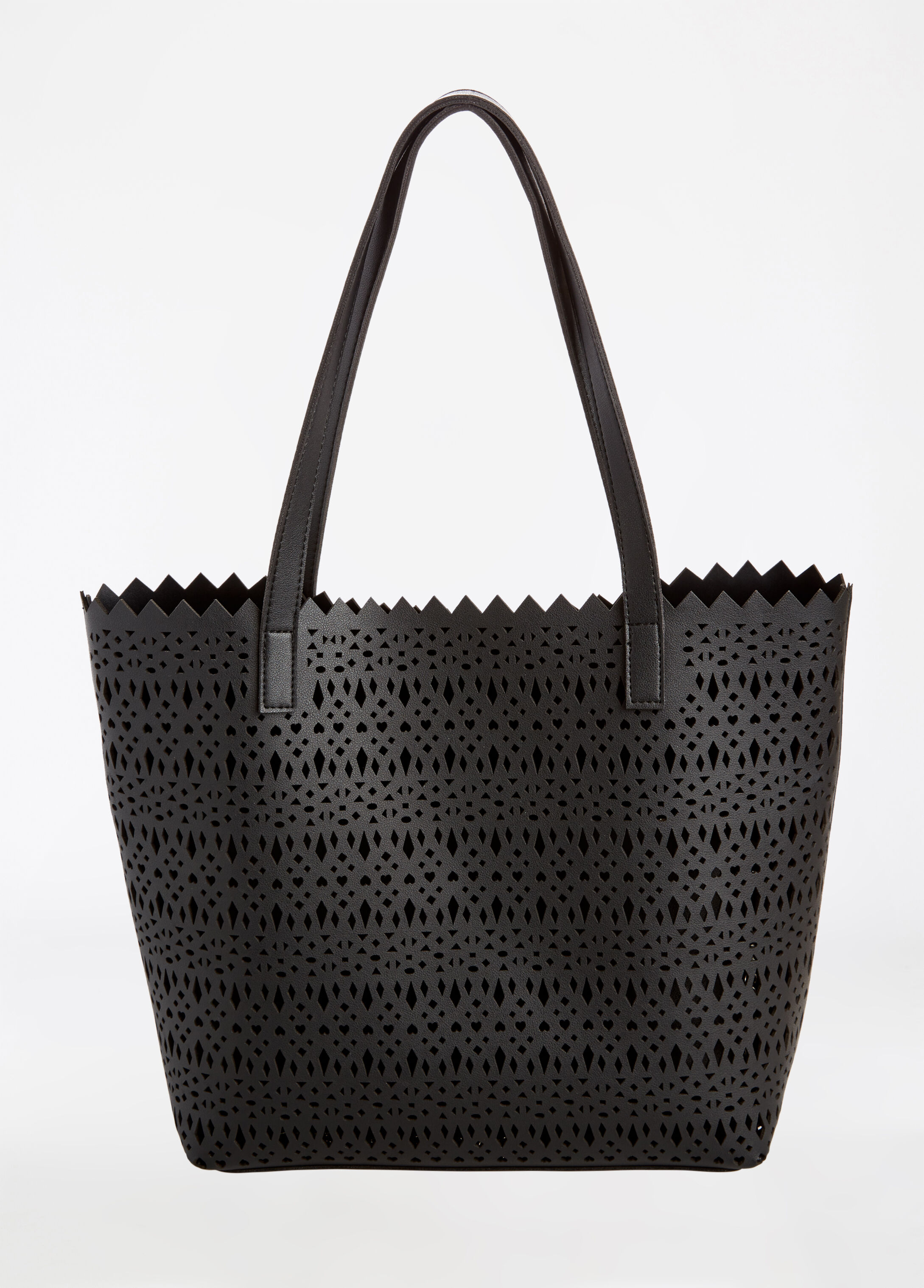 Cutout Tote With Chain Strap Purse