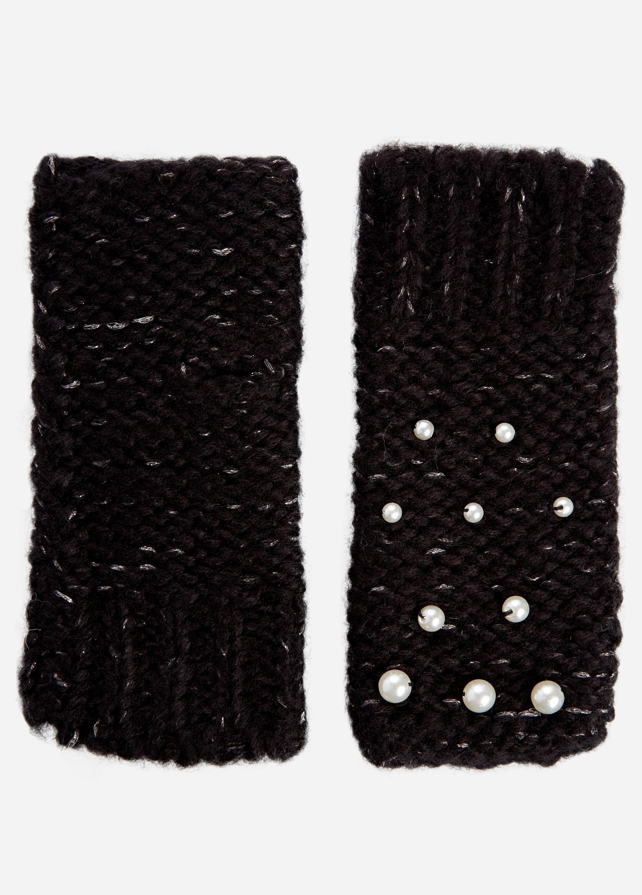 Pearl Trim Half Gloves