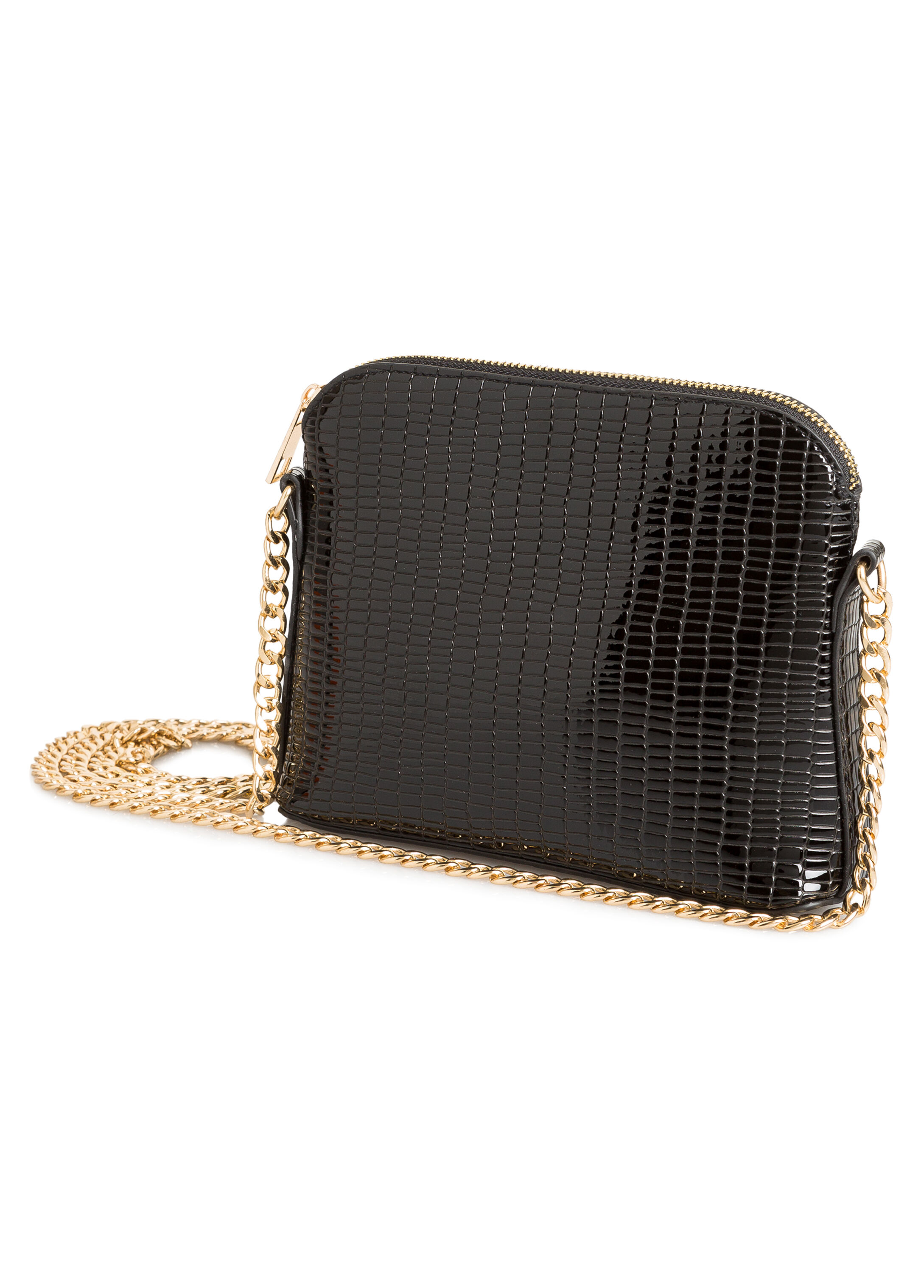 Patent Croc Chain Link Shoulder Bag