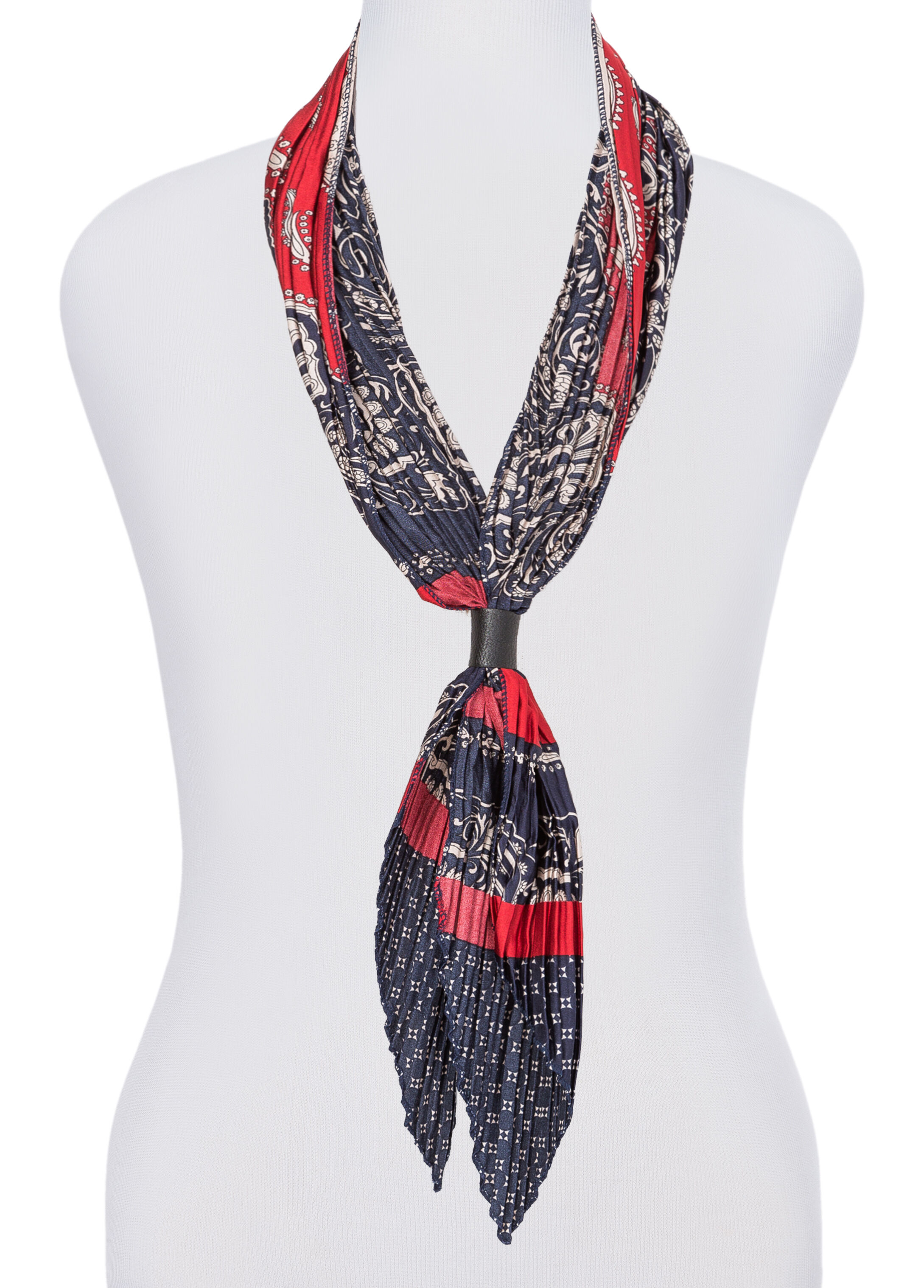 Pleated Mixed Print Skinny Scarf