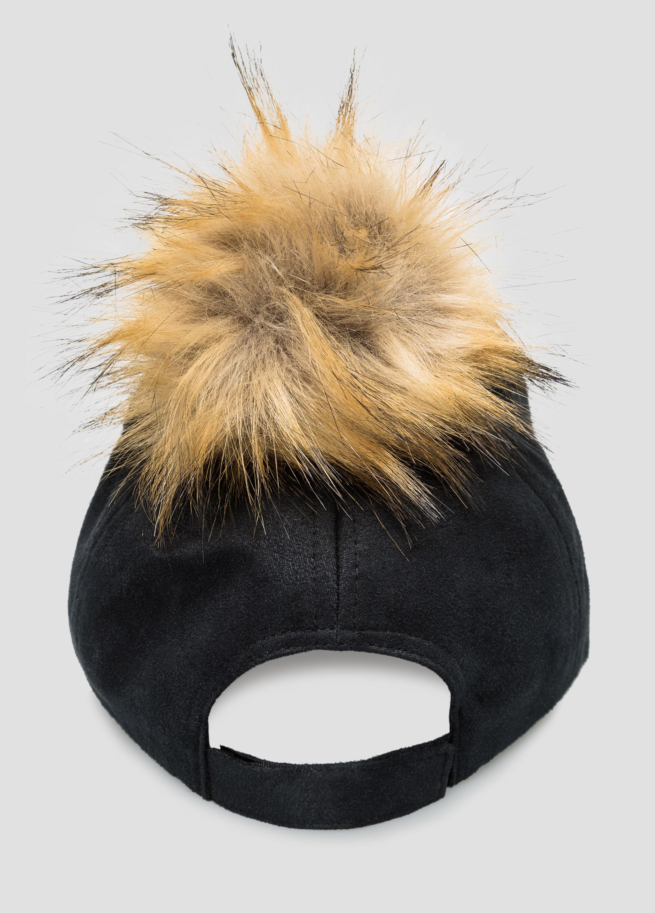 Suede Fur Pom Baseball Cap