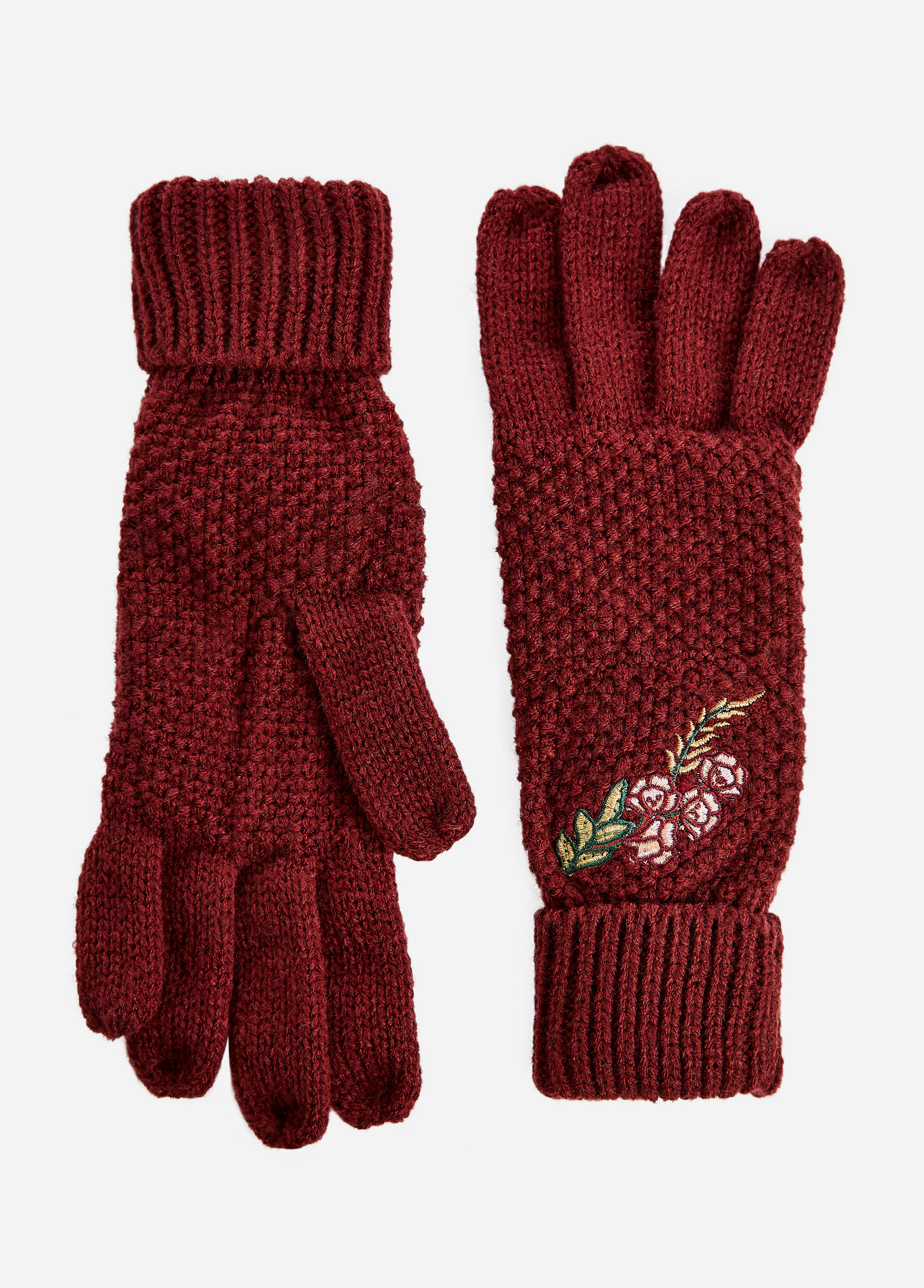Floral Embroidered Knit Gloves