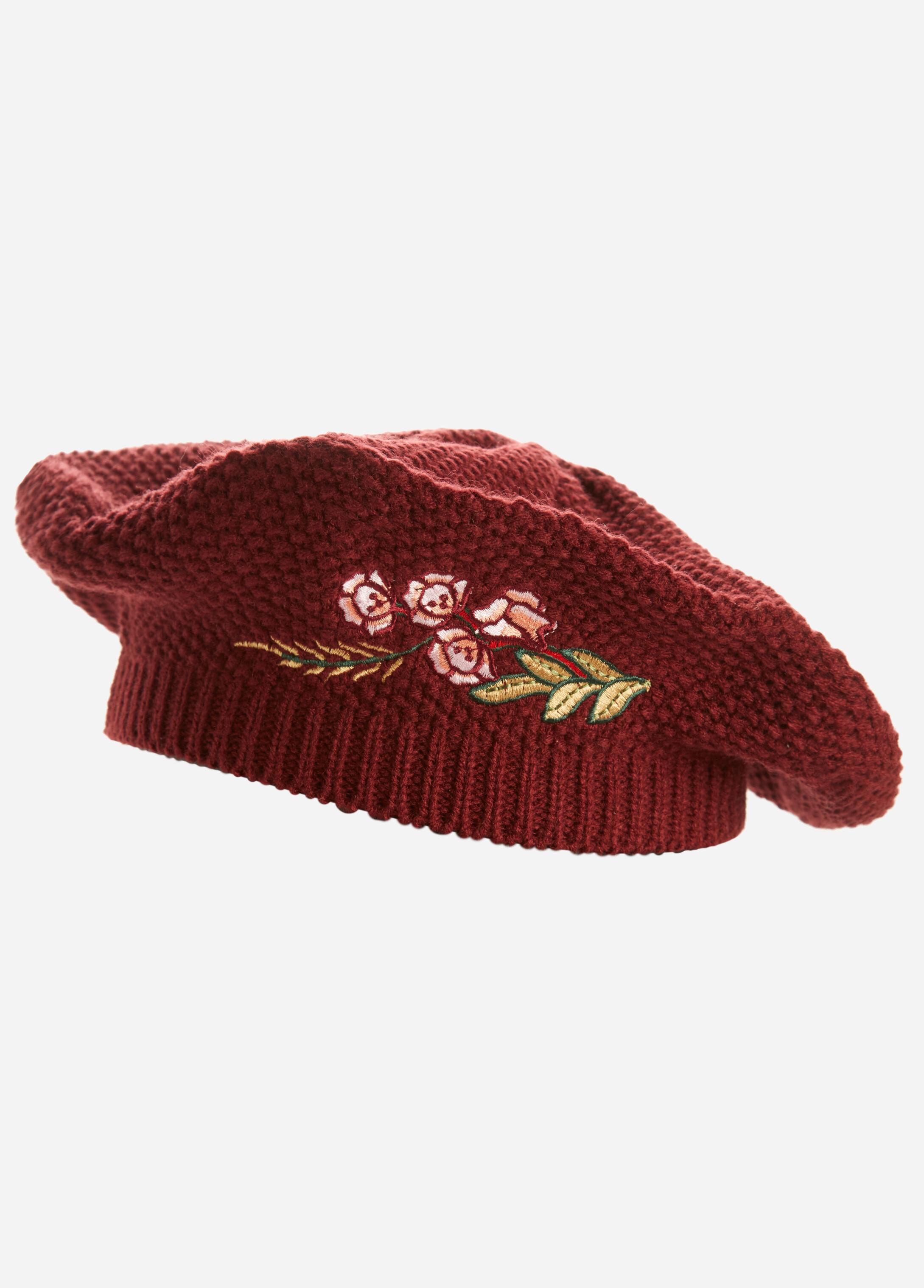 Floral Embroidered Knit Beret