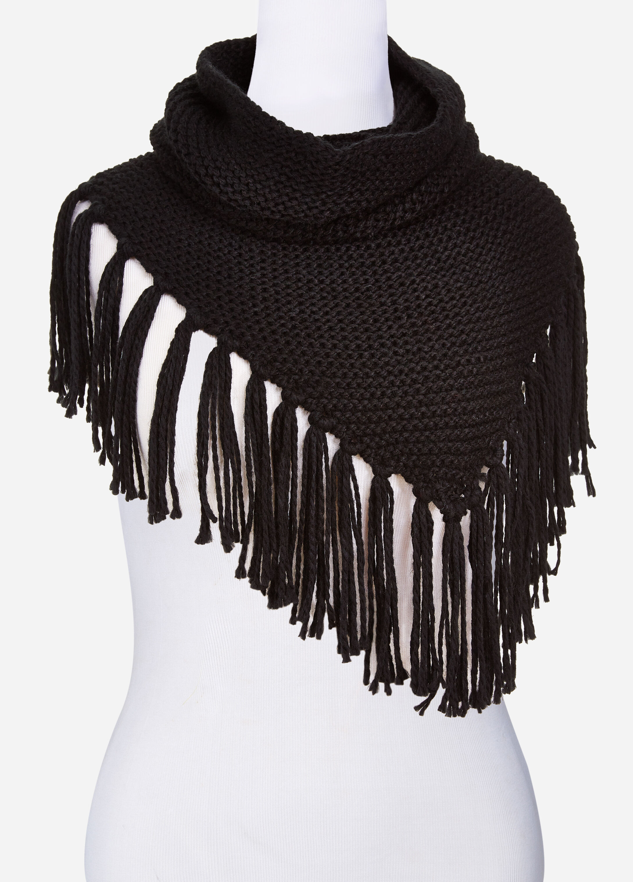 Knit Infinity Scarf With Fringe