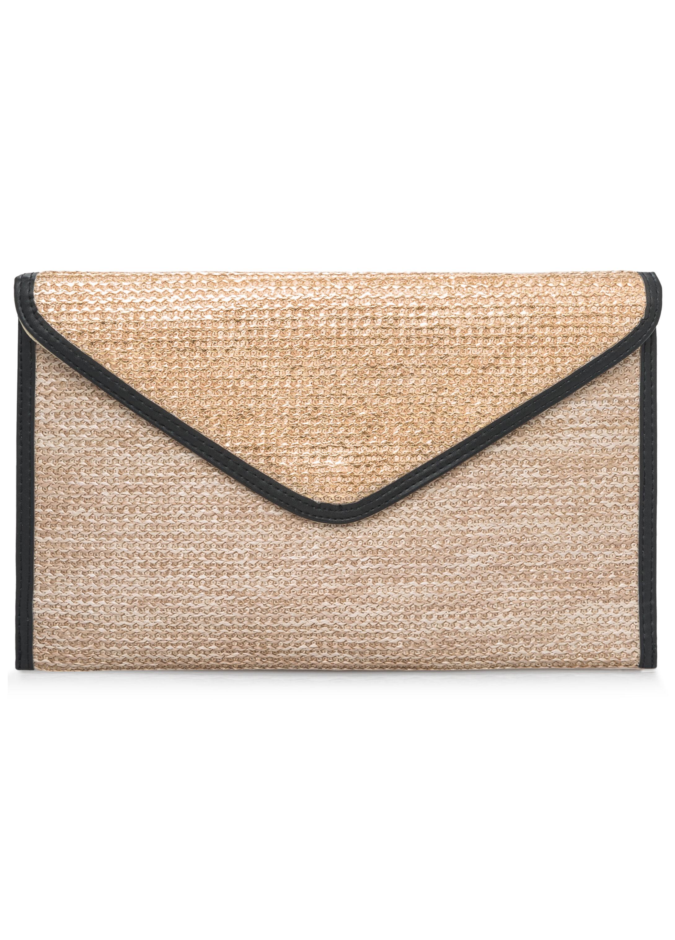 Metallic Straw Envelope Clutch