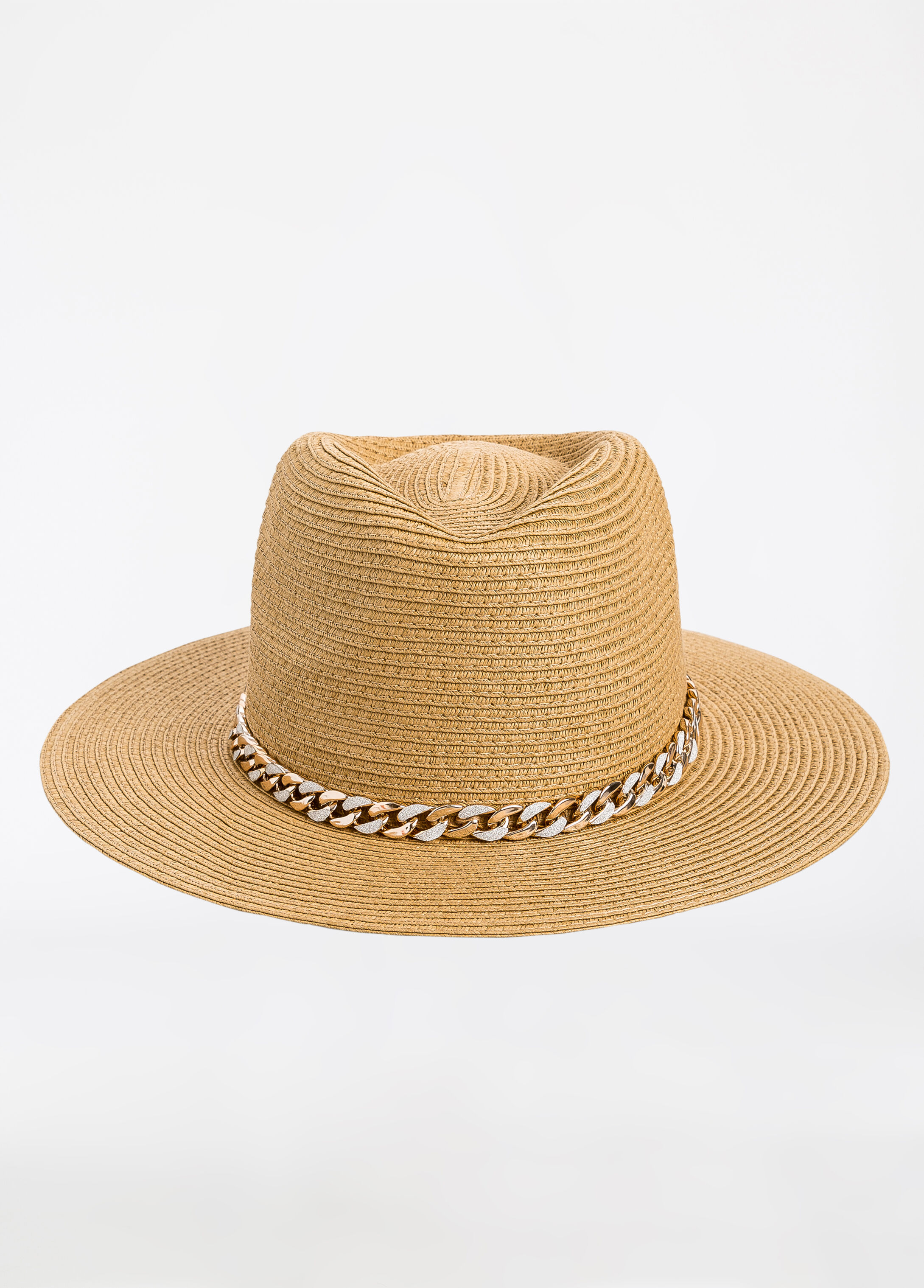 Woven Panama Hat with Chain Natural - Clearance