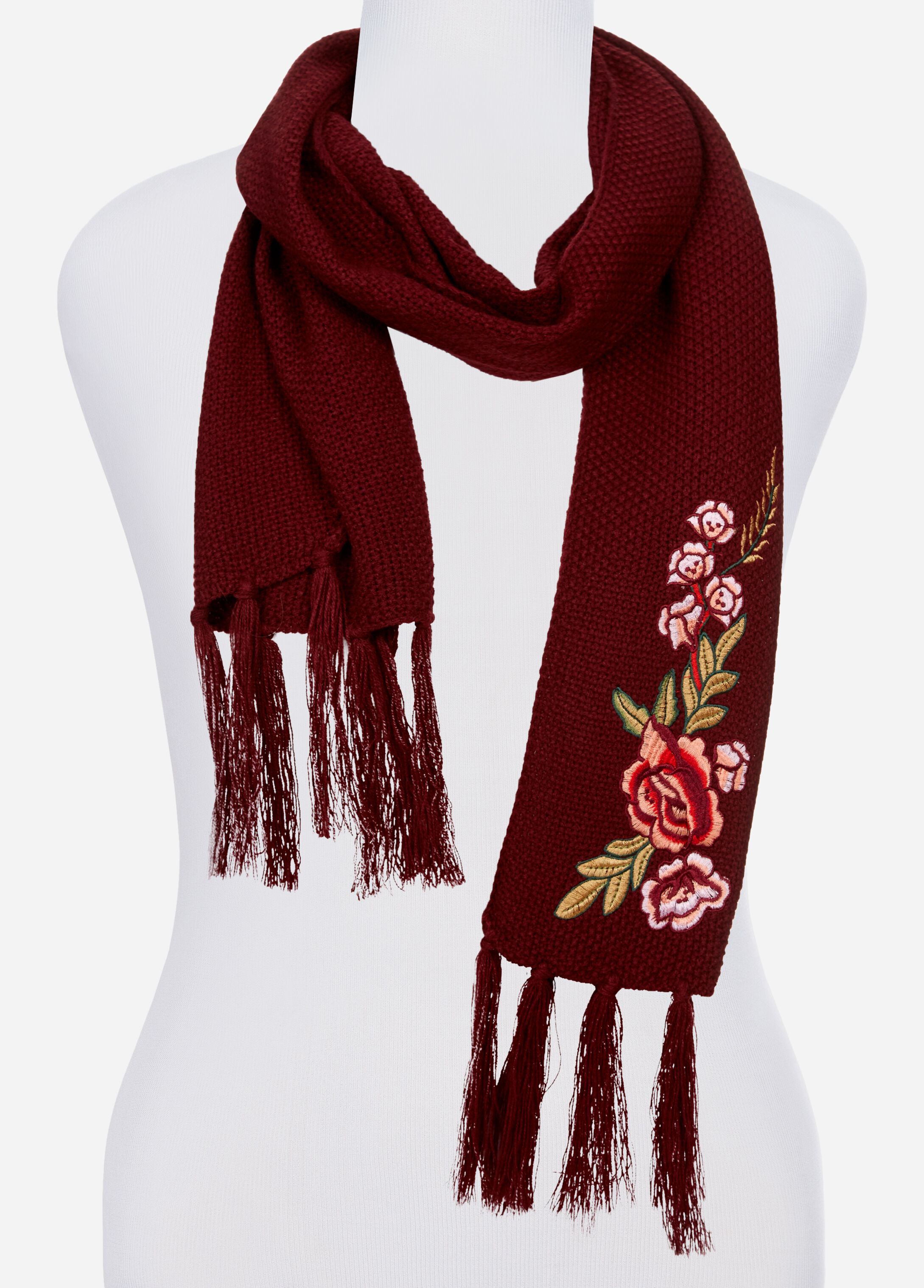 Rose Floral Embroidered Knit Scarf