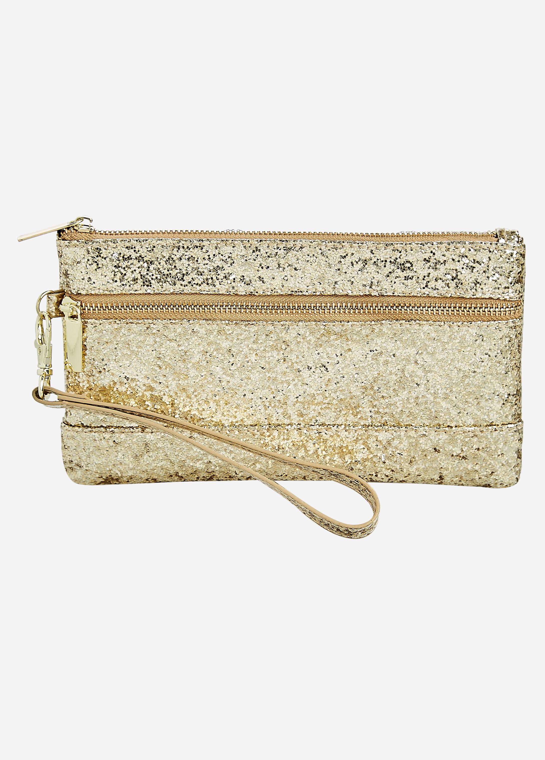 Gold Two-Pocket Glitter Wristlet