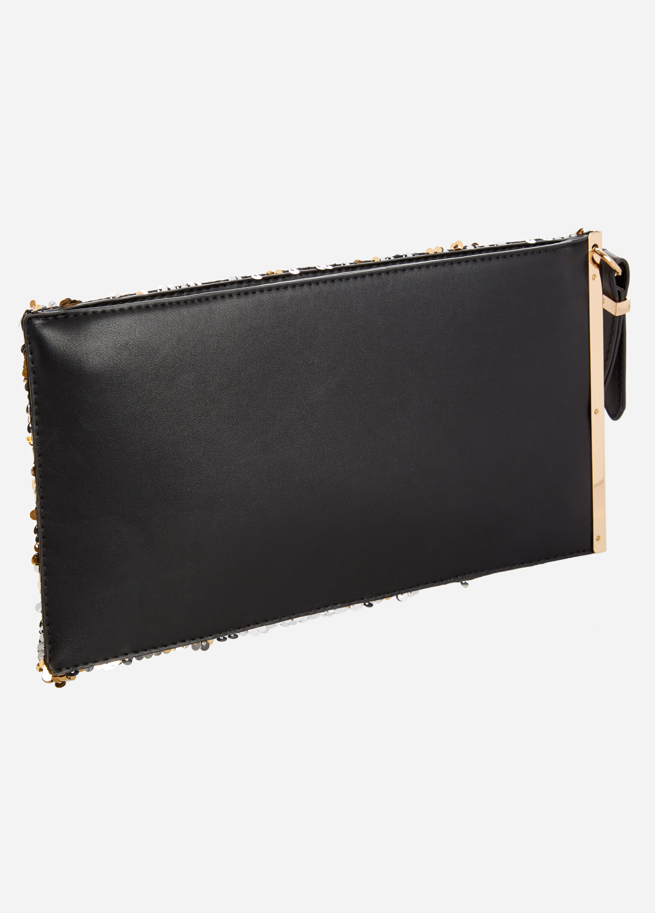 Two-Tone Sequin Wristlet Clutch