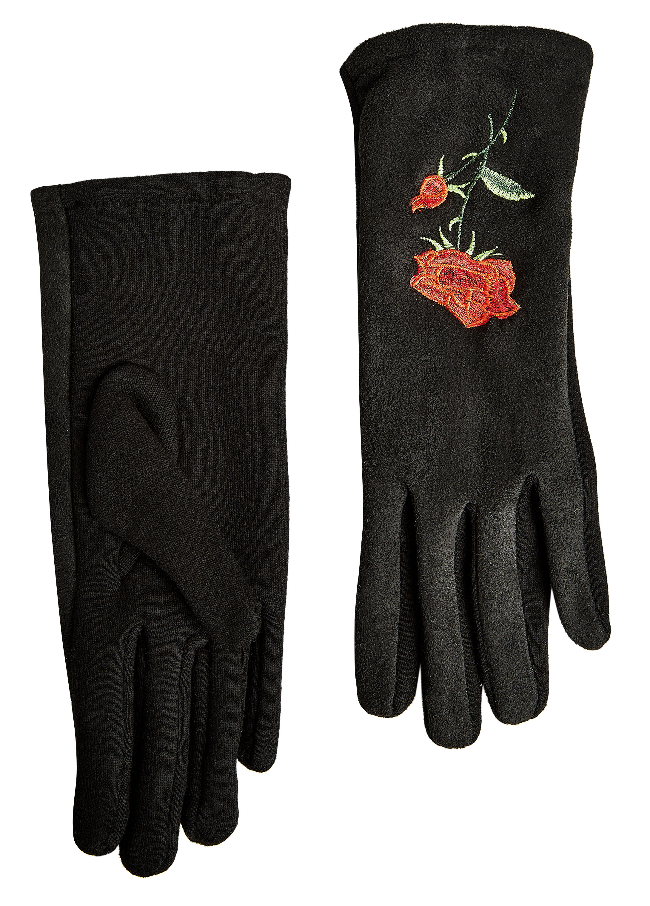 Rose Embroidered Suede Gloves