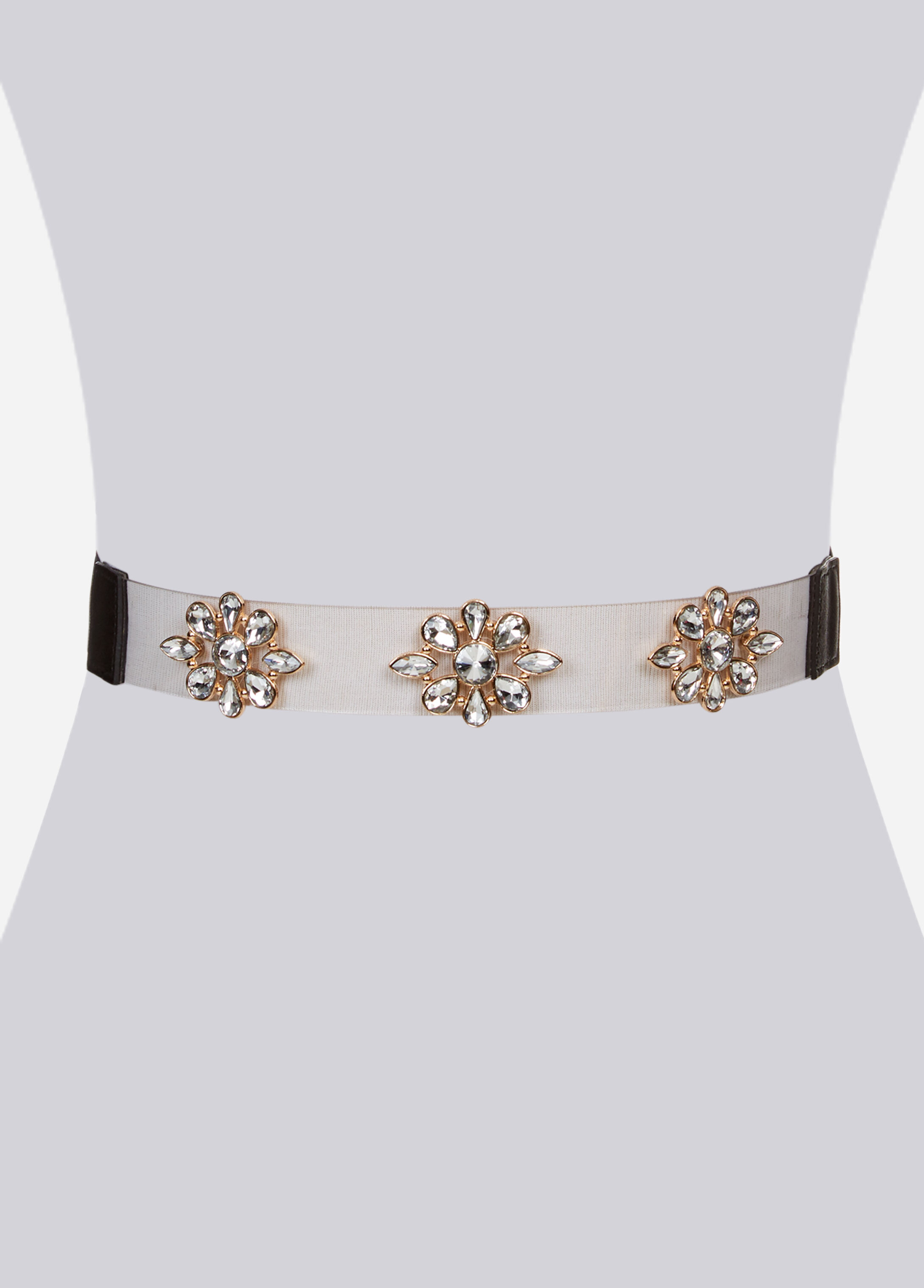 Jeweled Flower Clear Stretch Belt