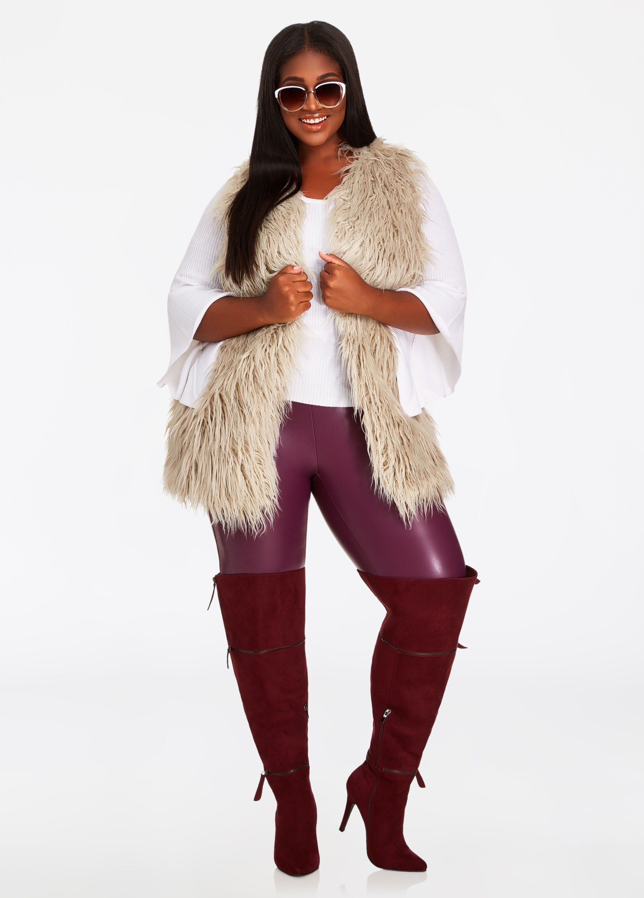Plus Size Outfits - Faux Fur Vest with Leggings and Boots