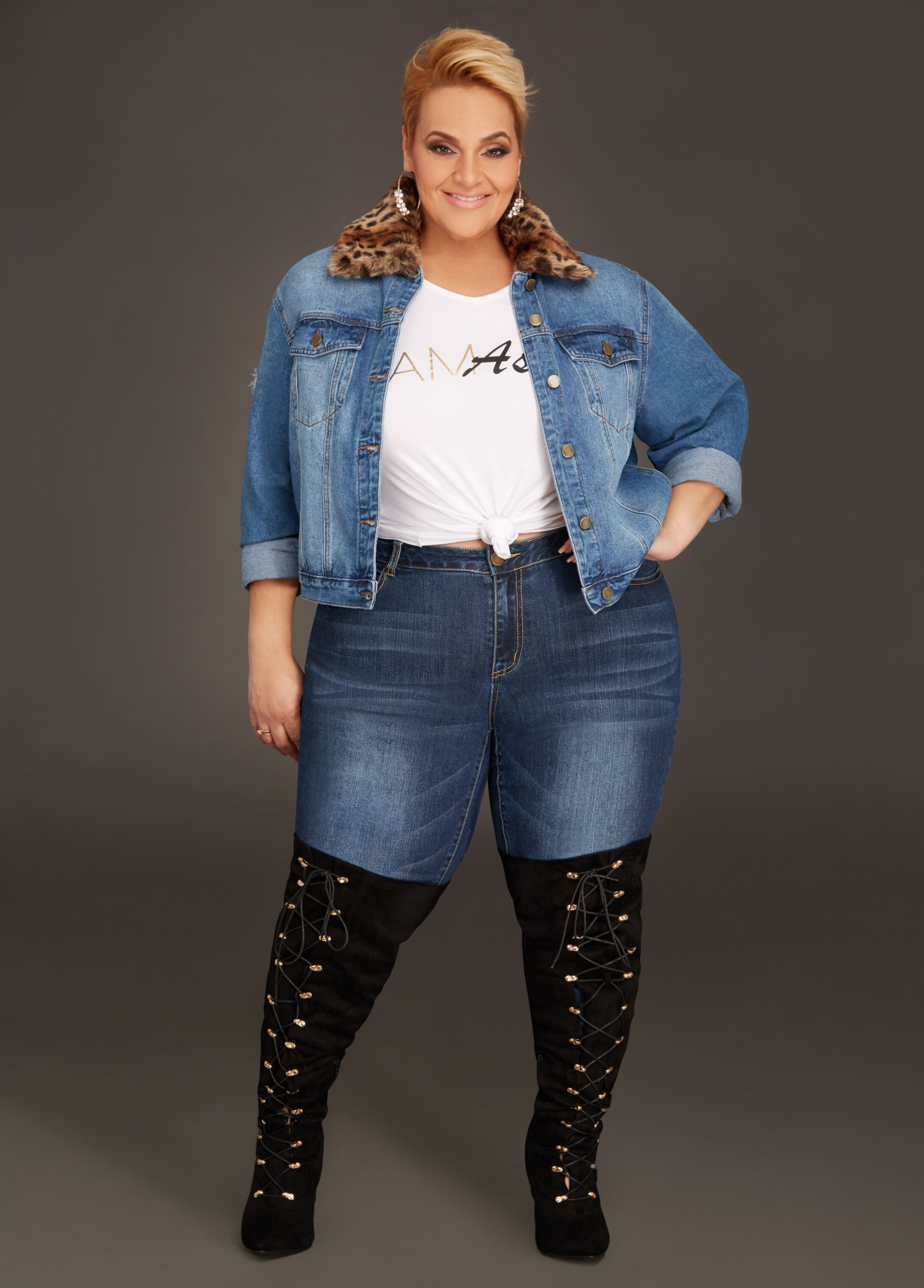 Plus Size Outfits - Leopard Collar Denim Jacket with Flawless Skinny Jean
