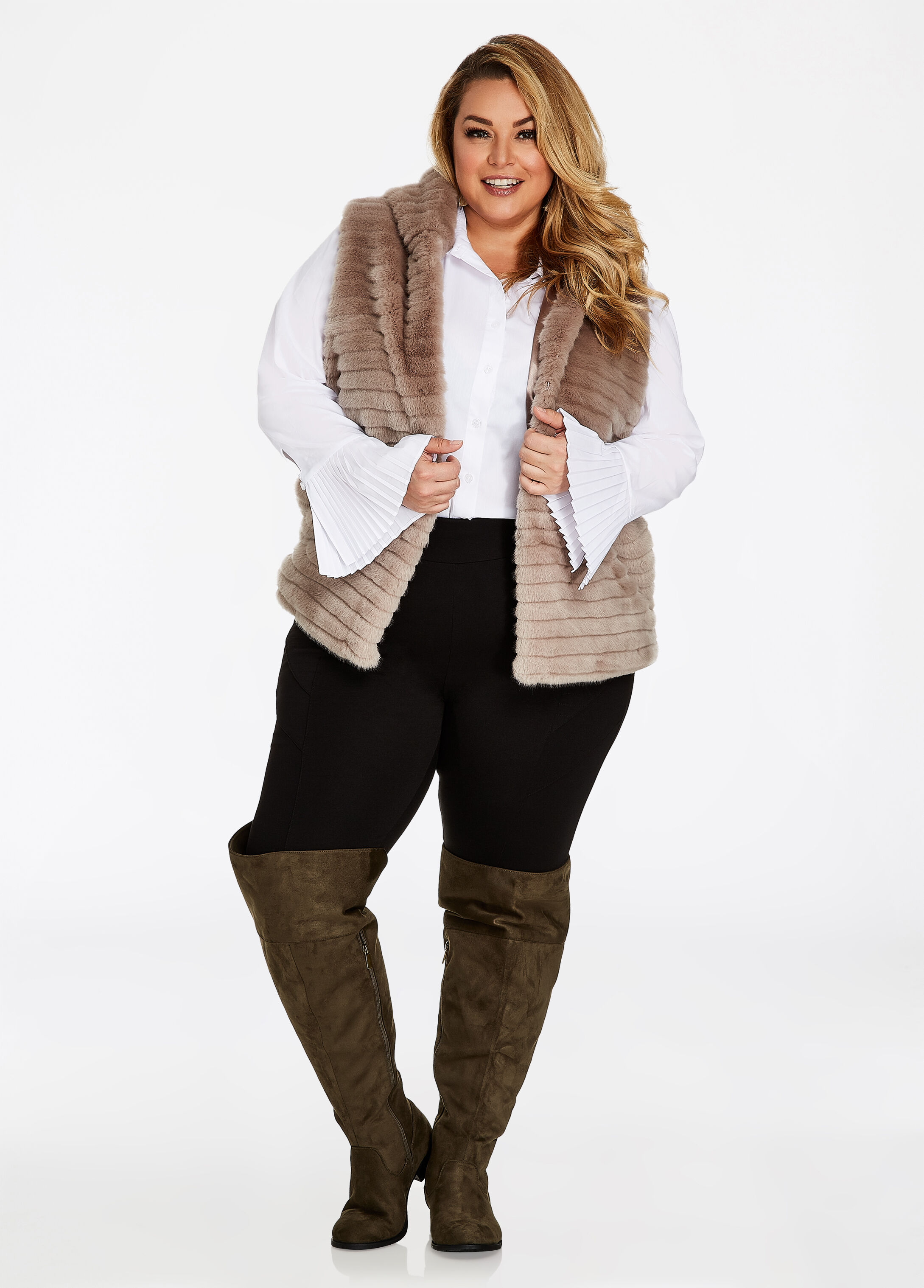 Plus Size Outfits - Hooded Faux Fur Vest with Leggings and Boots