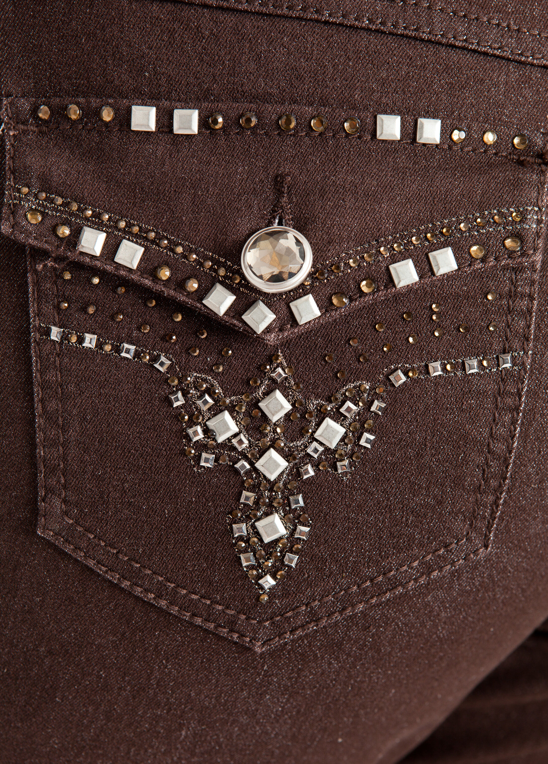 Arrow Bling Flap Back Denim Pants