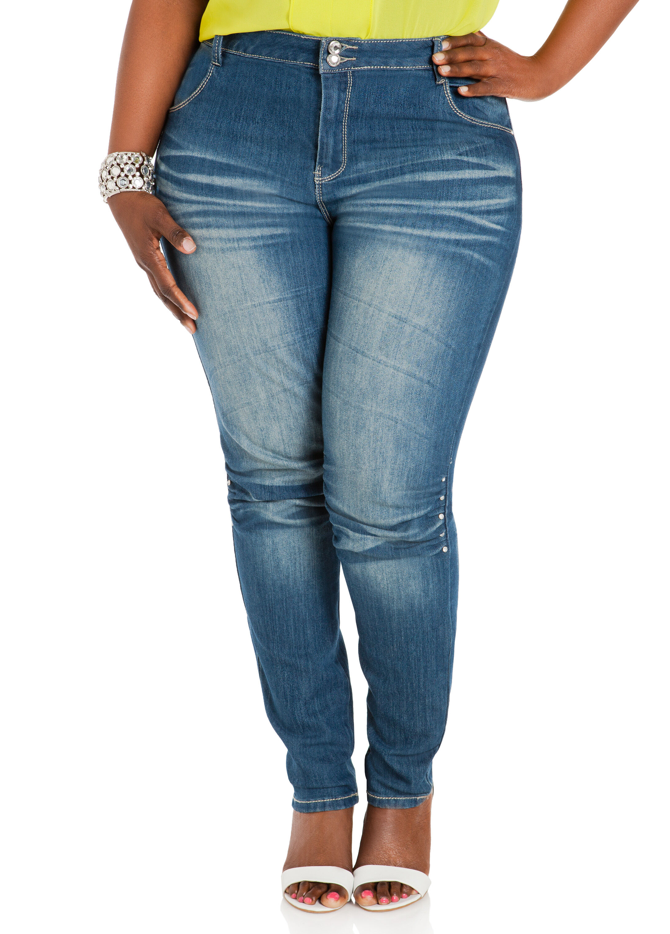 Ruched Knee Skinny Jeans