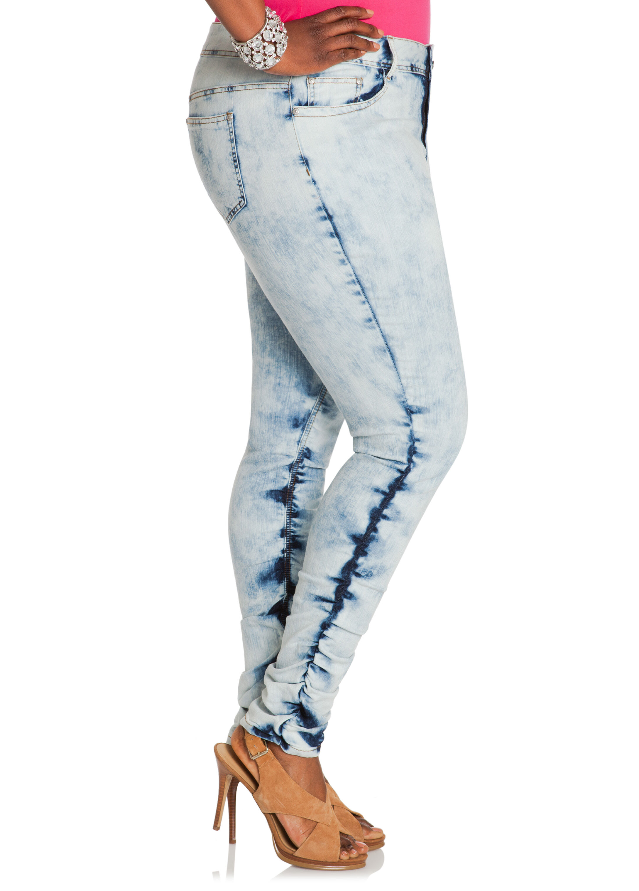Bleach Washed Rouched Leg Skinny Jeans
