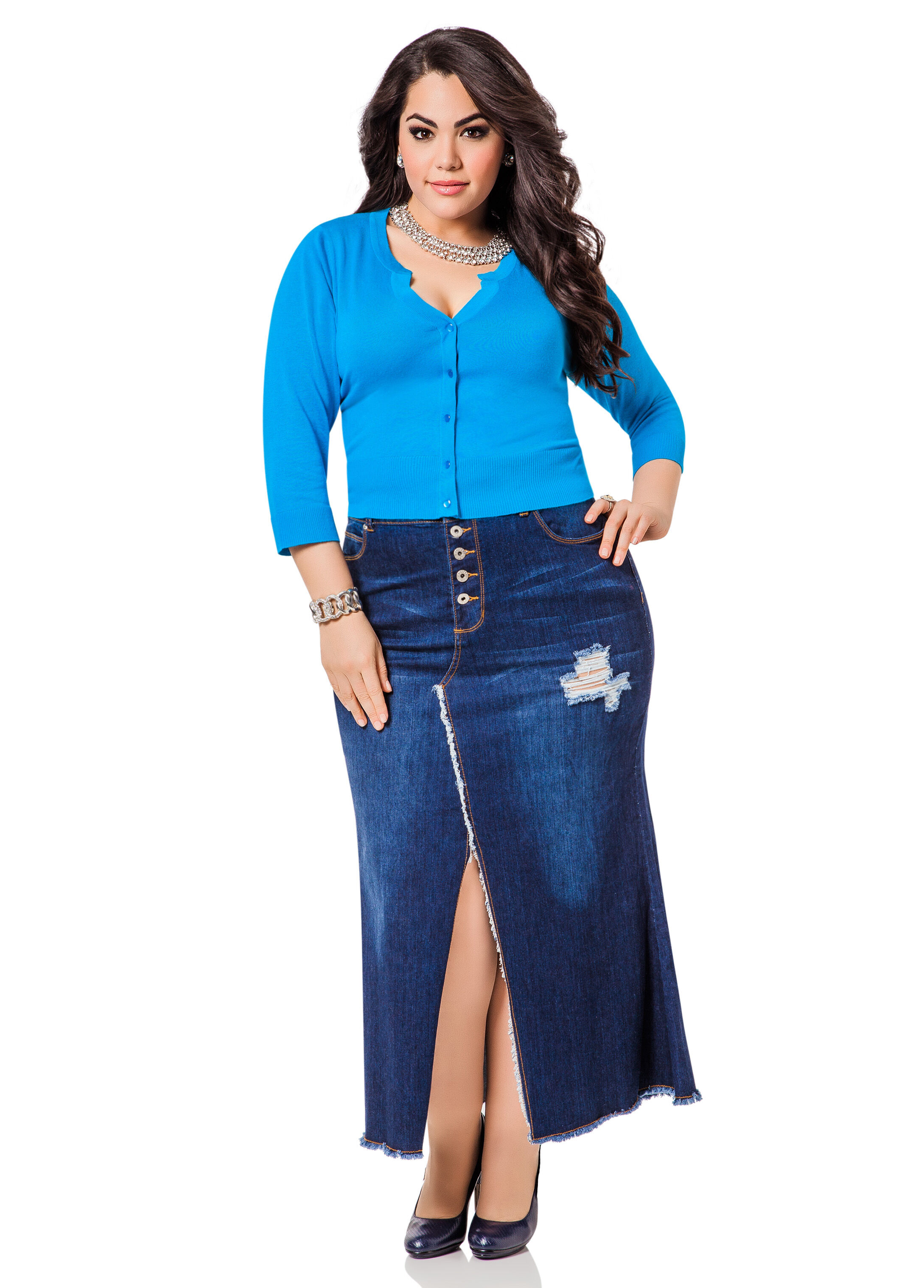 front slit denim skirt stewart