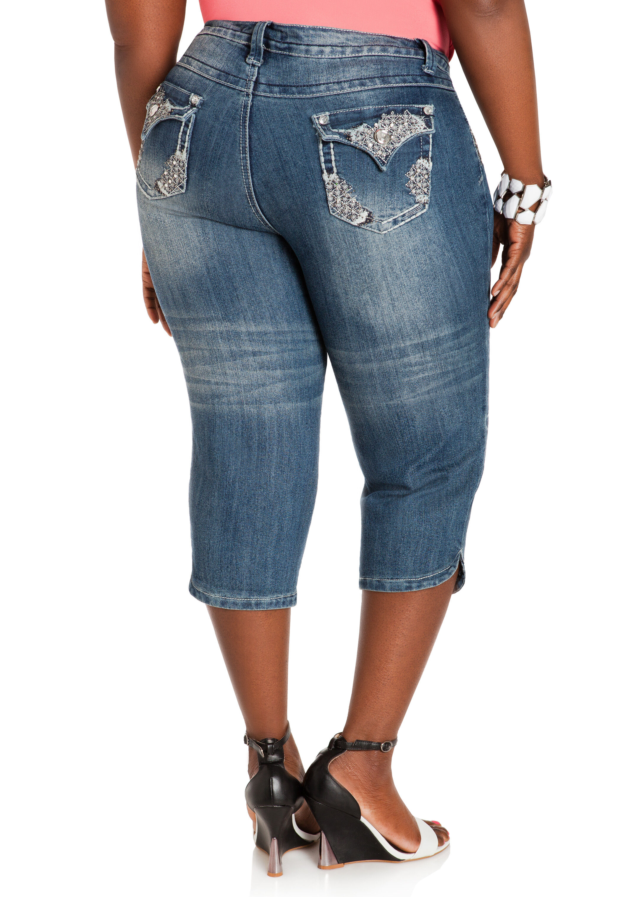 Embellished Denim Capri Pants
