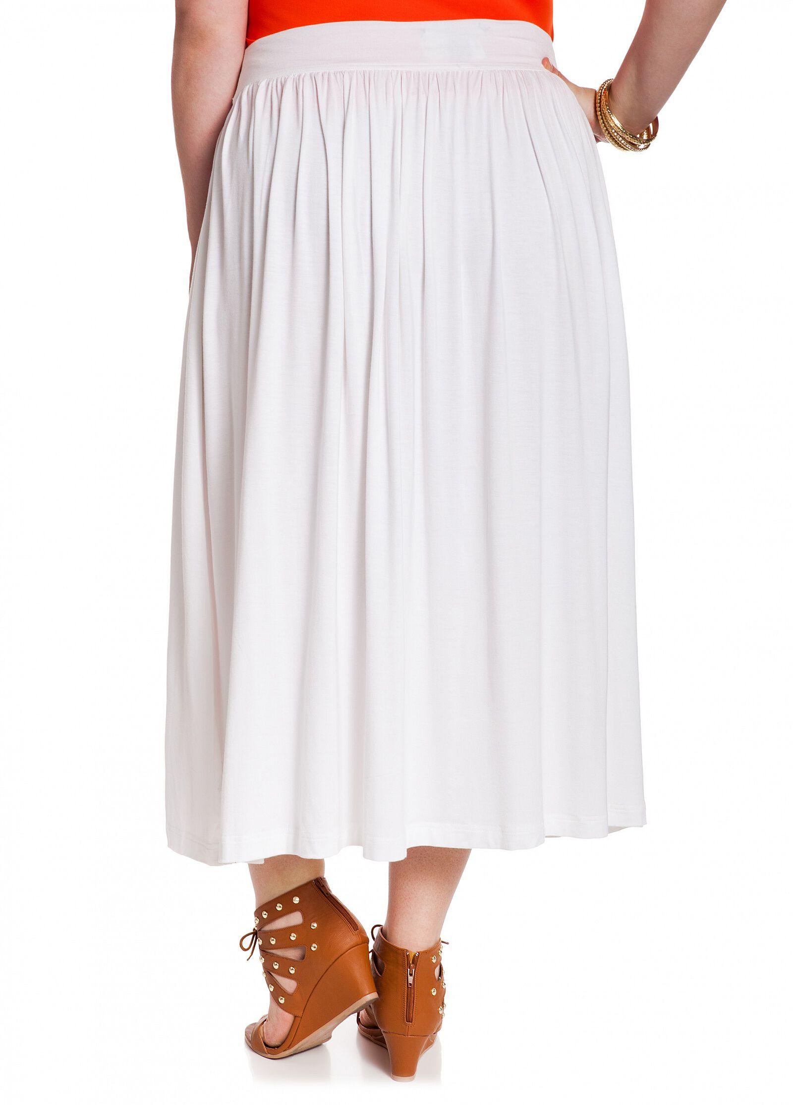 Long Solid White Skirt