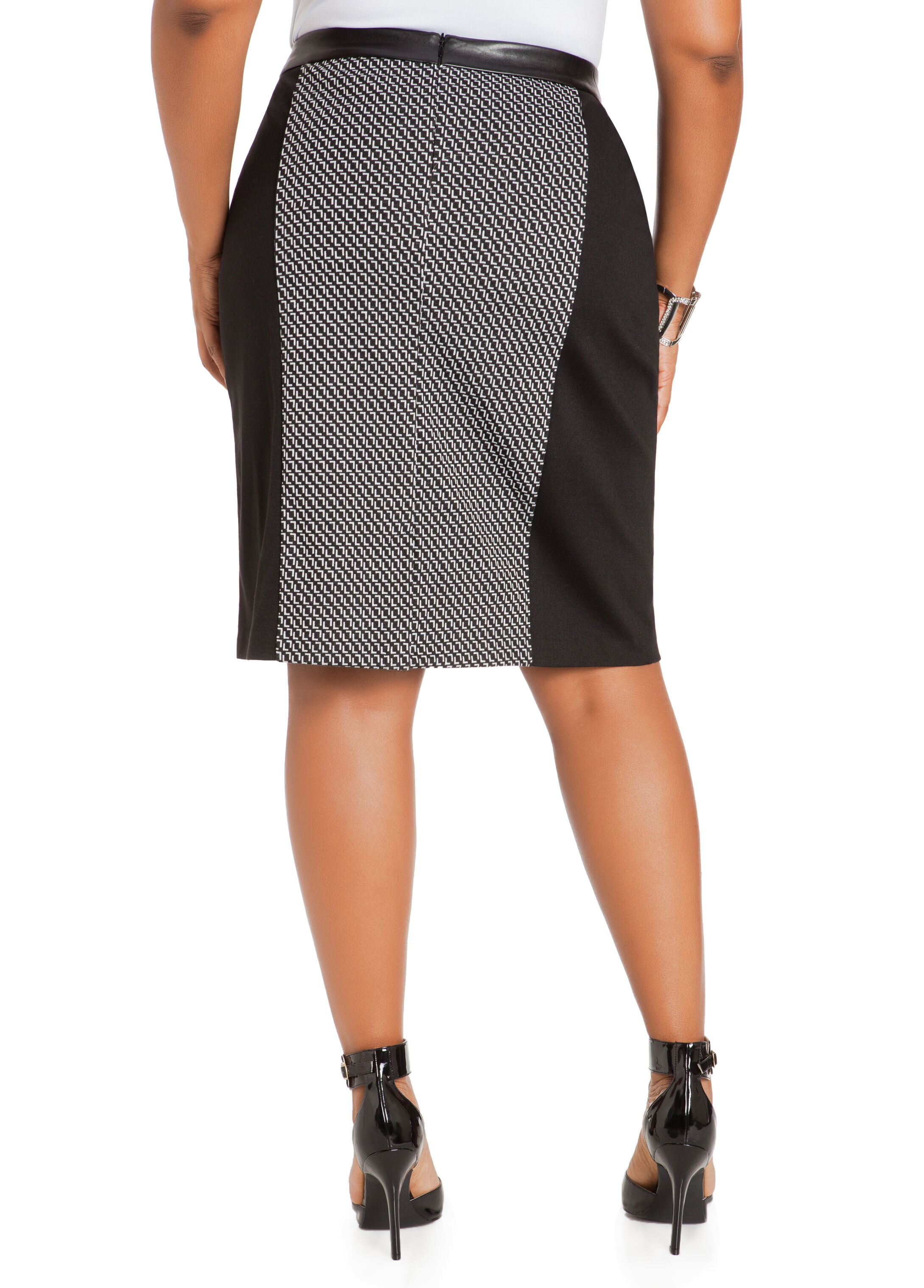 Faux Leather Waist Geo Panel Skirt