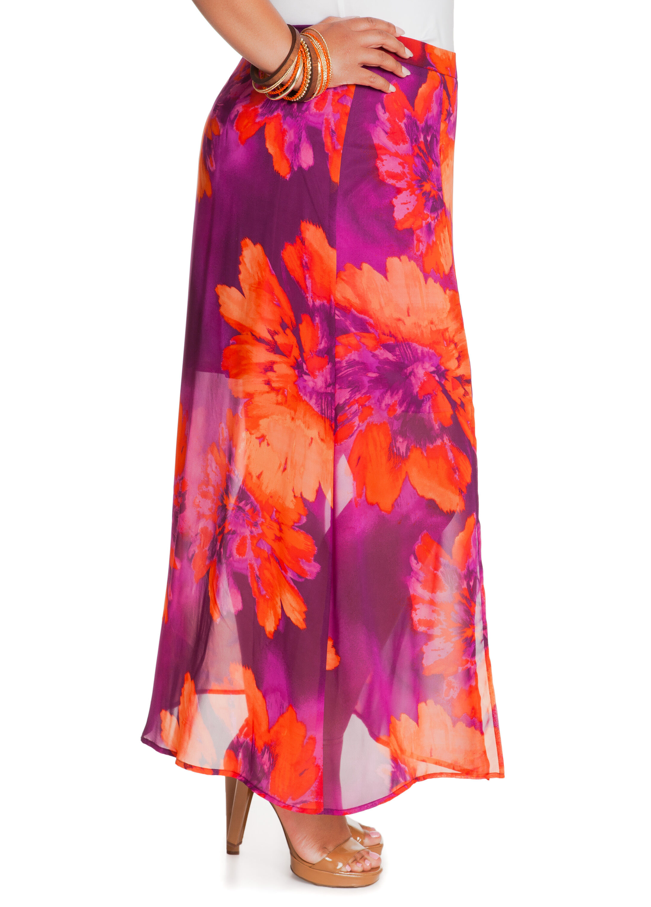 Long Floral A-Line Skirt