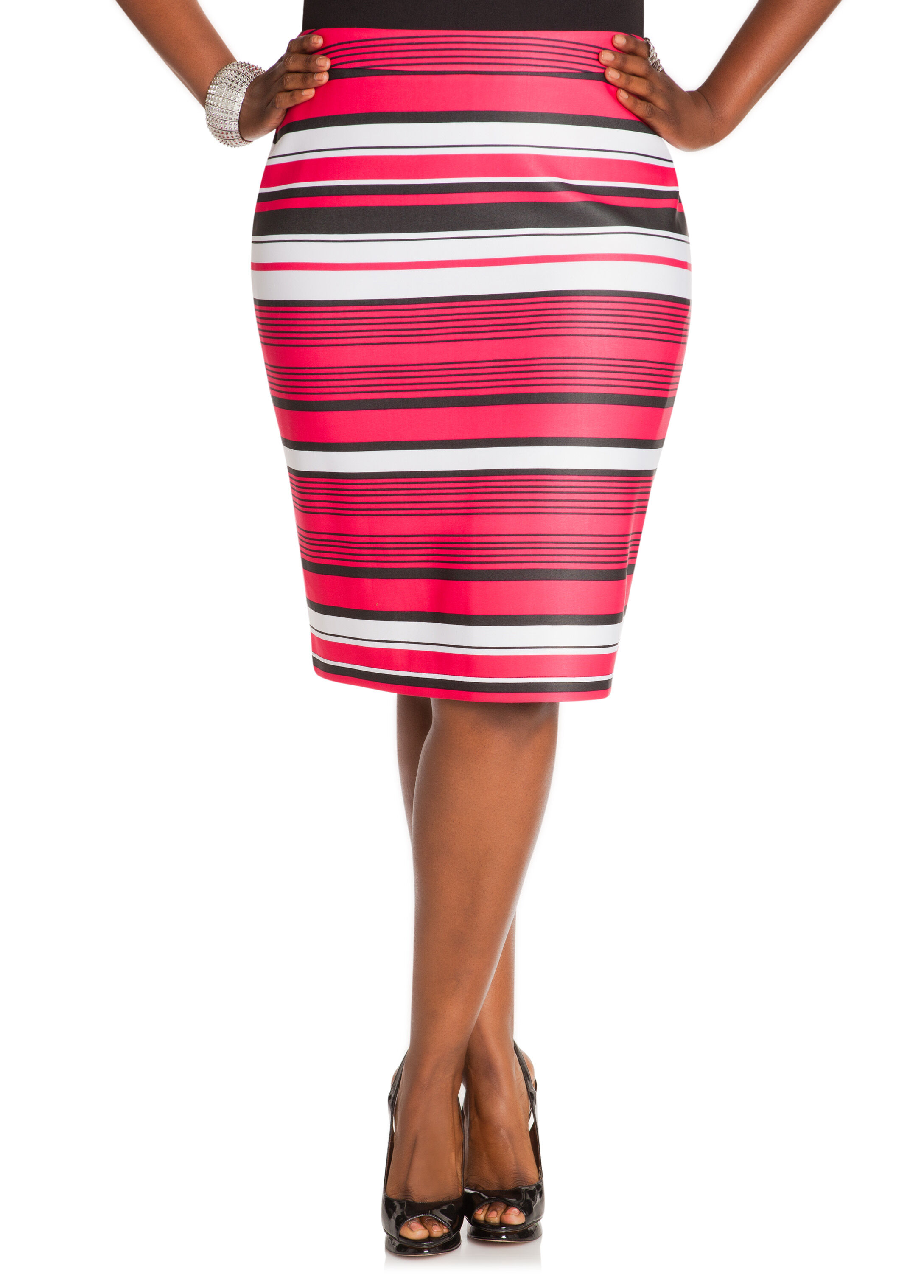 Scuba Stripe Pencil Skirt