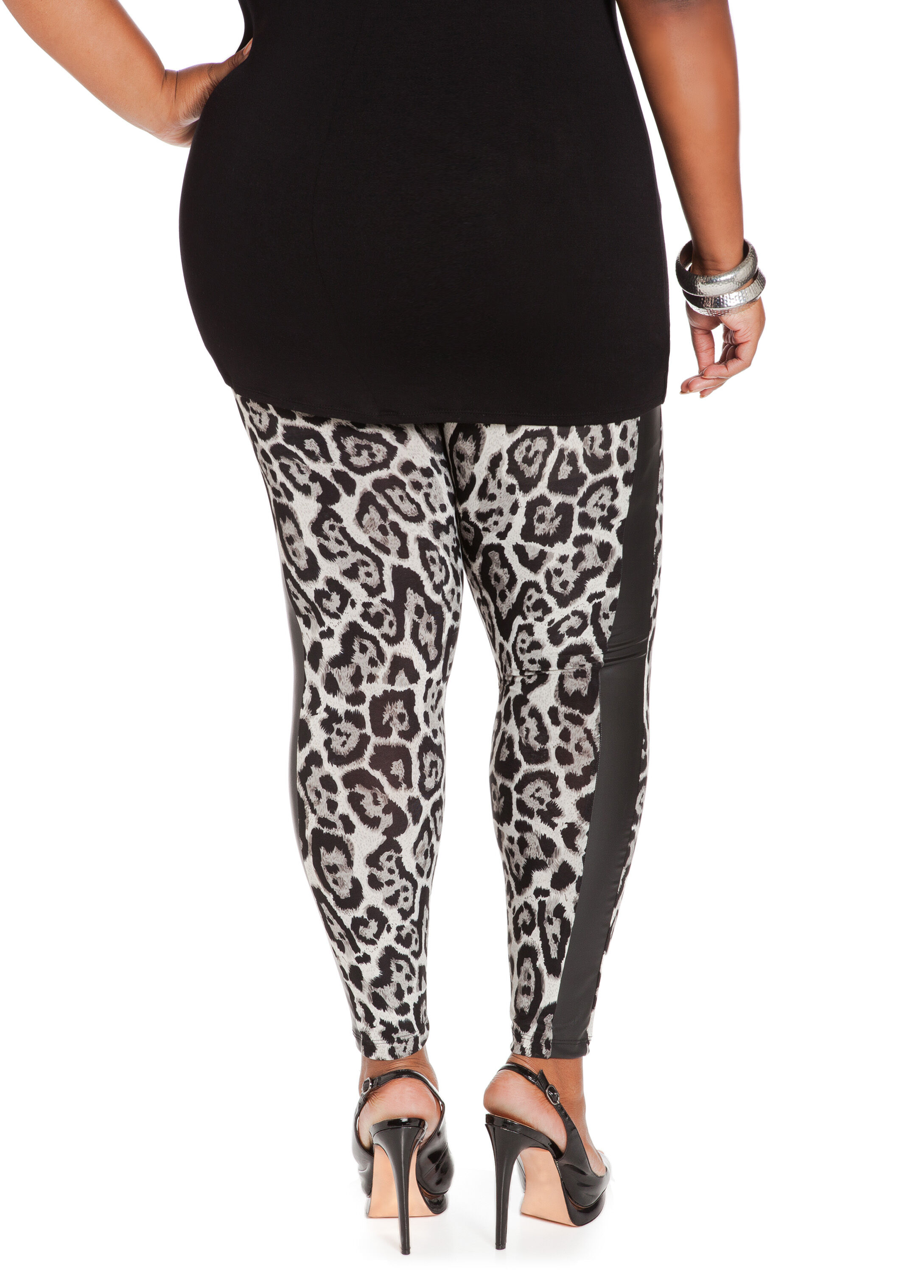 Faux Leather Animal Print Leggings