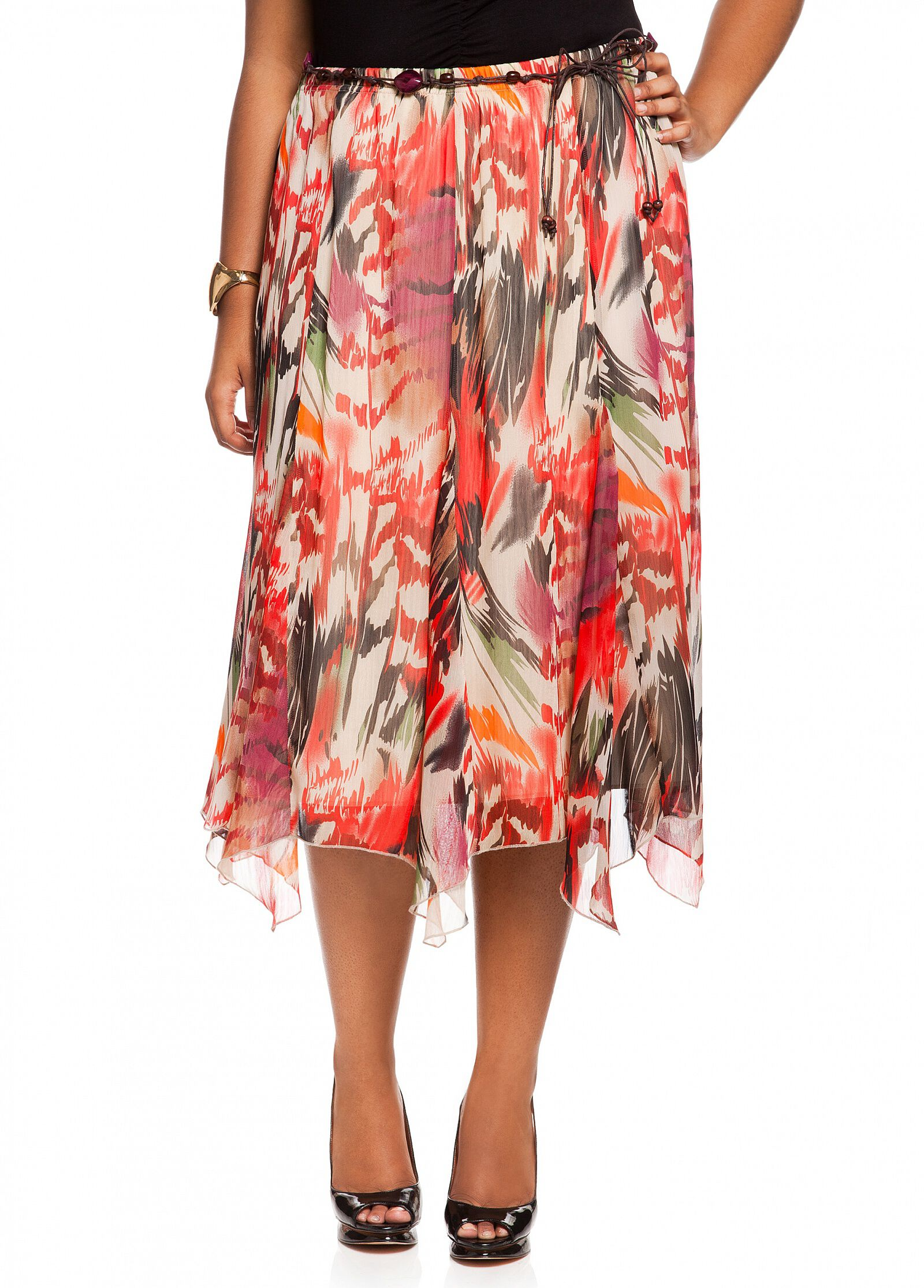 Abstract Tropical Print Skirt