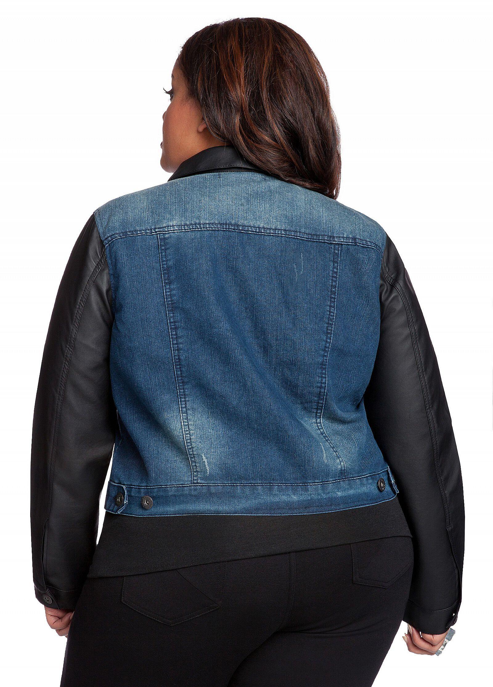Faux Leather Sleeve Denim Jacket