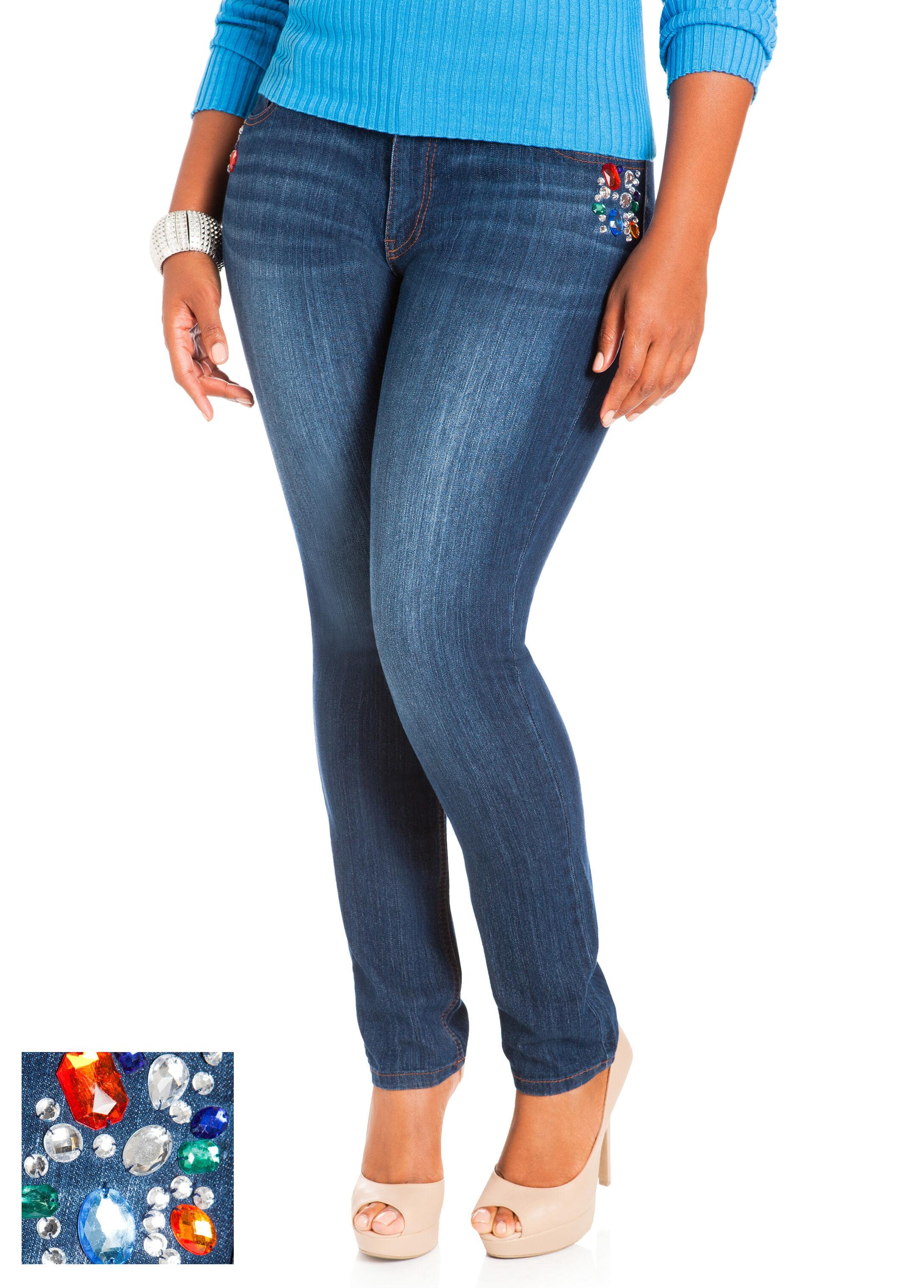 Jeweled Skinny Denim Pants