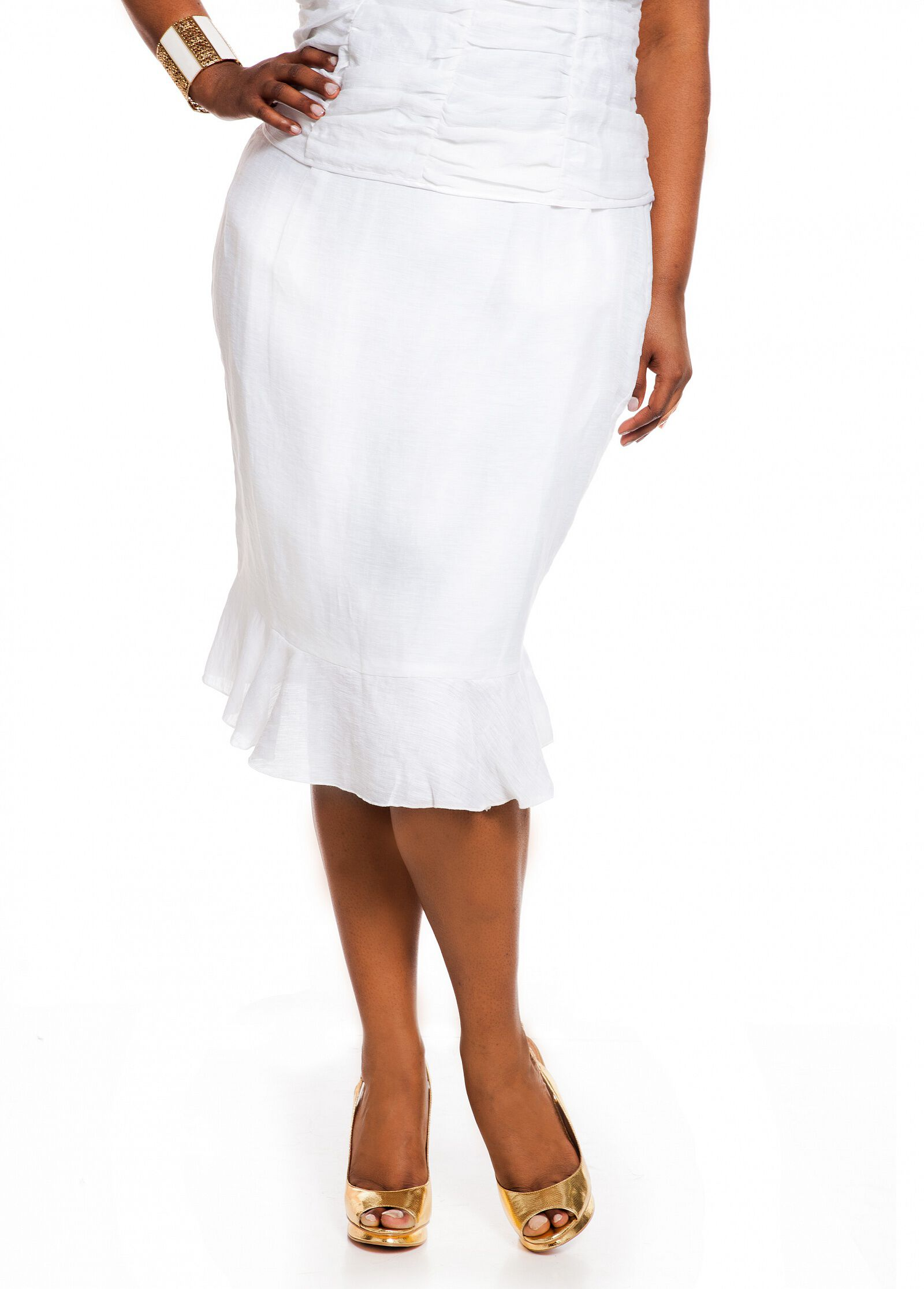 Linen Ruffle Bottom Skirt